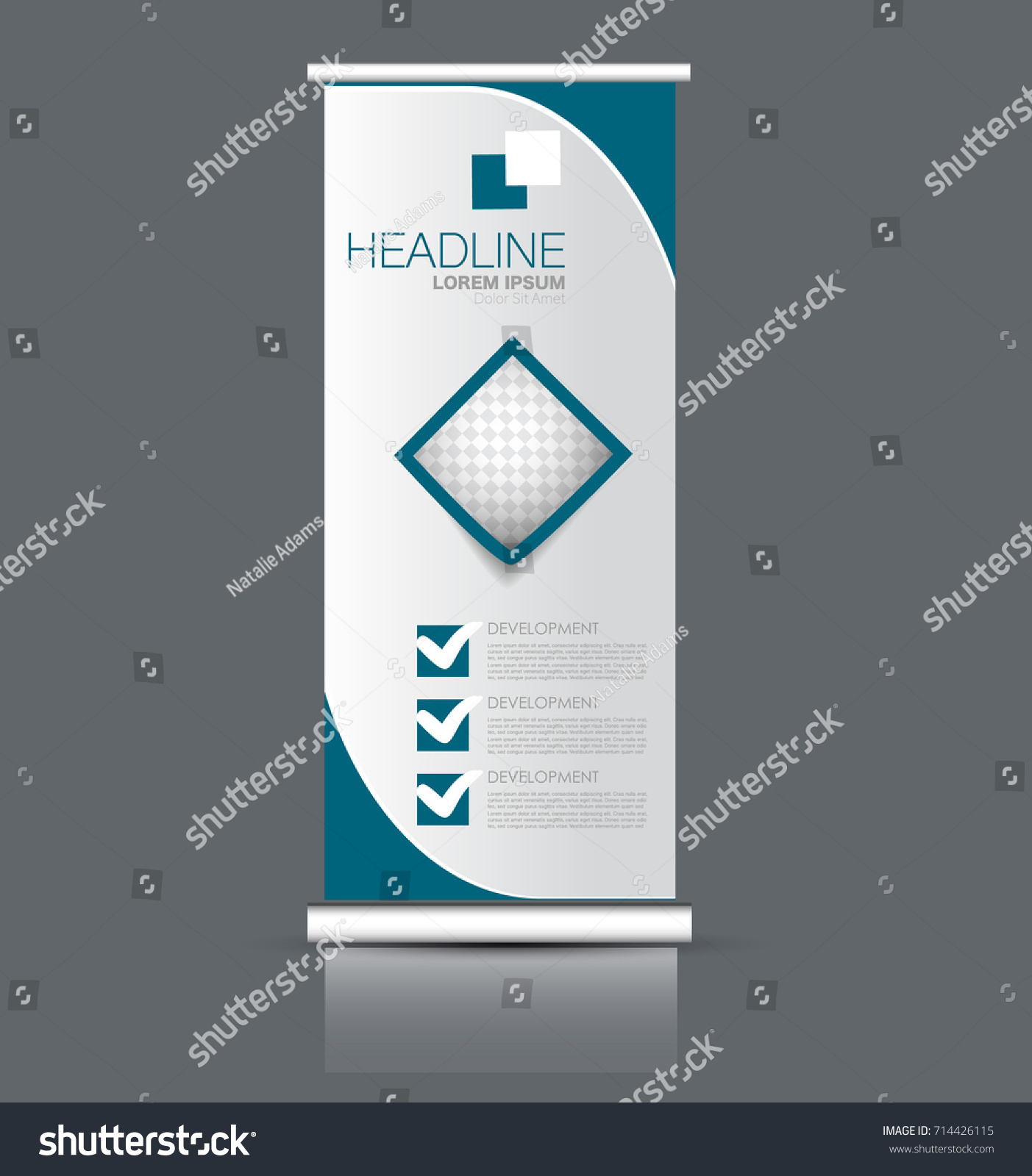 Rollup Vertical Banner Stand Template Abstract Stock Vector Royalty Free 714426115