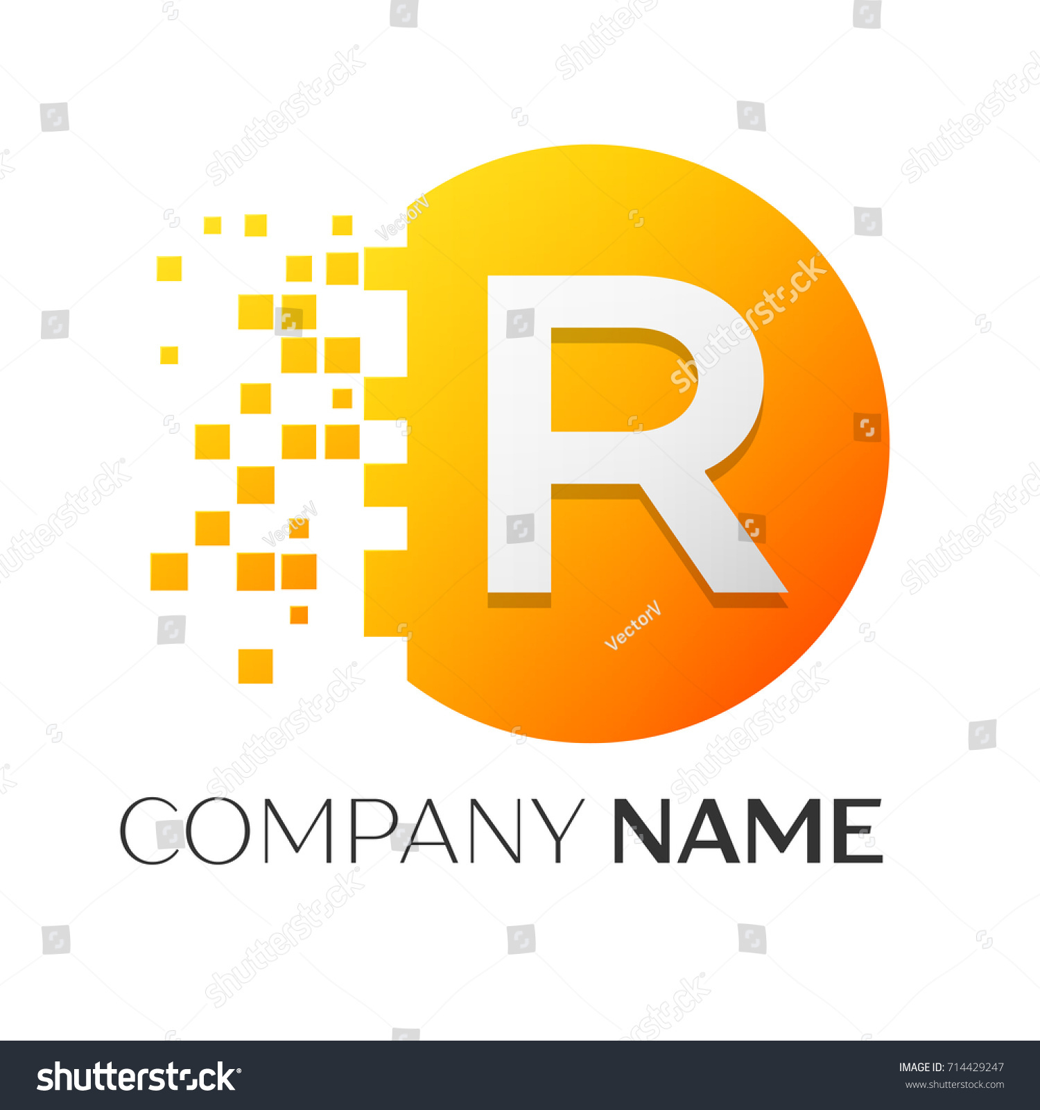 Realistic letter r logo symbol colorful stock illustration realistic letter r logo symbol in the colorful circle with shattered blocks on white background buycottarizona