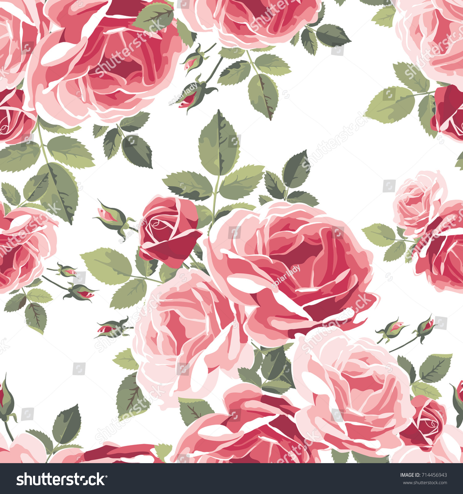 Seamless Pattern Roses Vintage Floral Background Stock Vector
