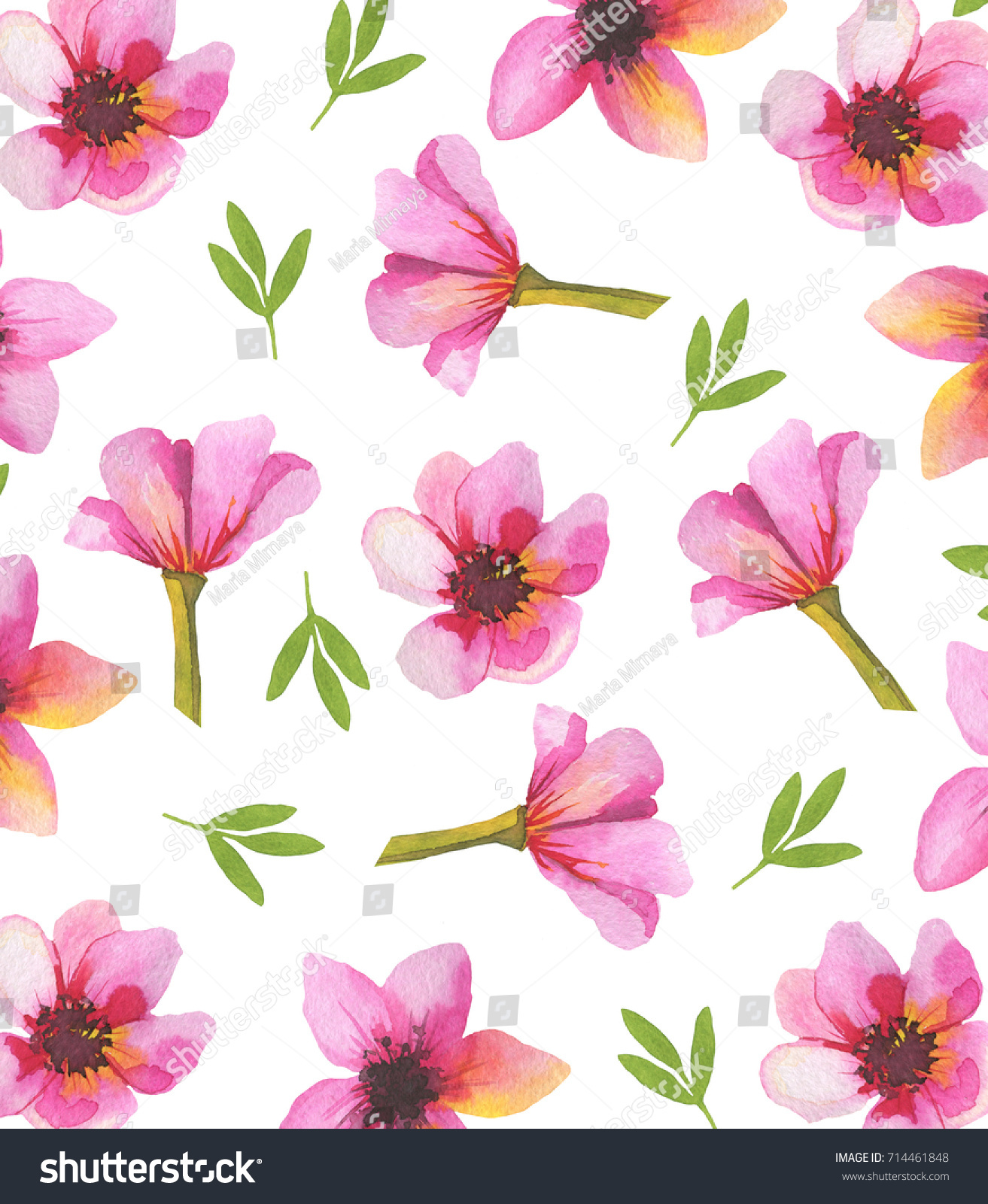 Background Made Handdrawn Watercolor Spring Flowers Stock