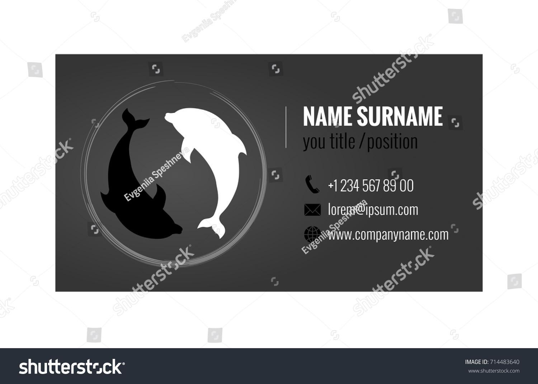 Business Card Template Yin Yang Symbol Stock Vector 714483640
