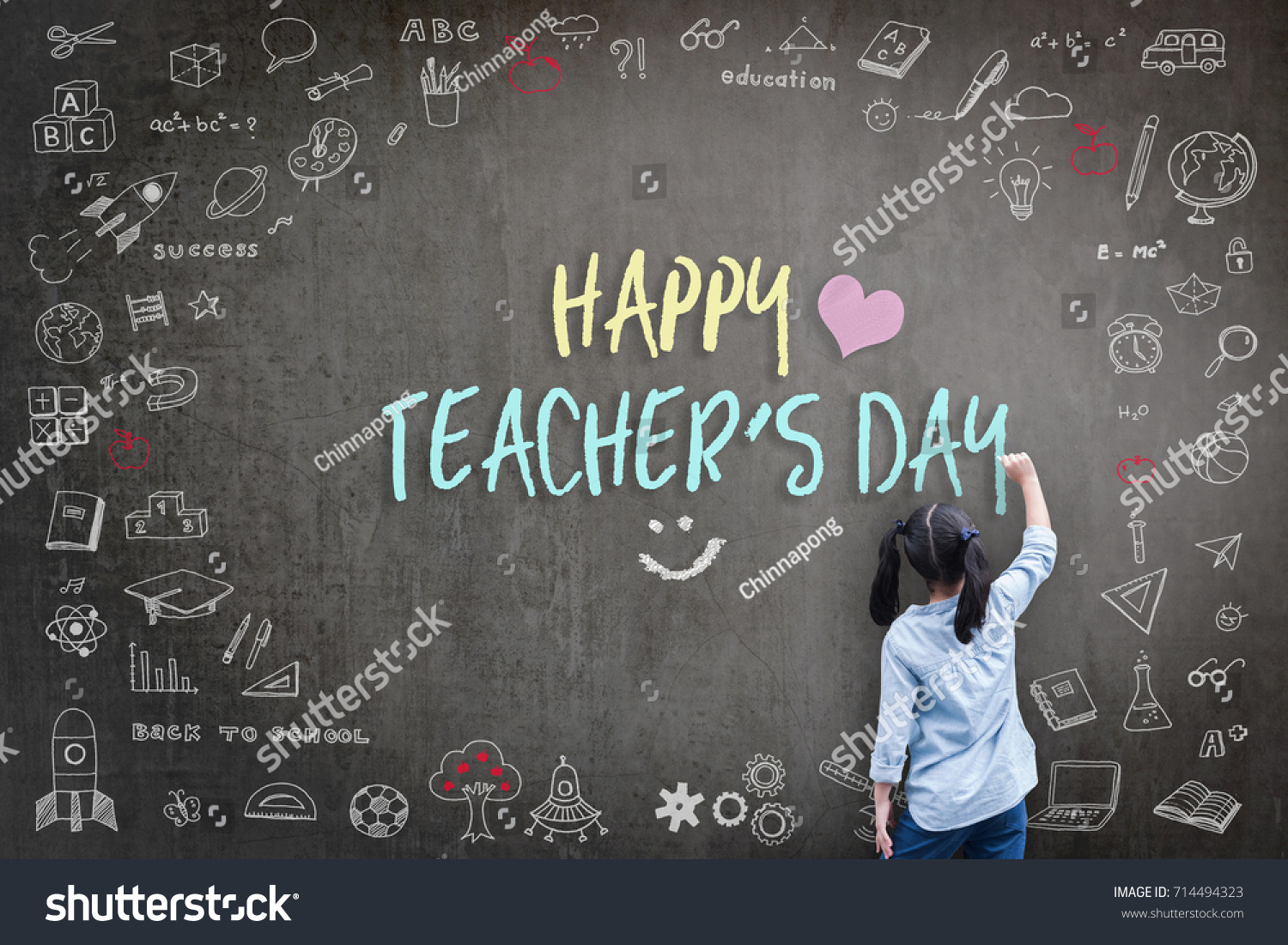 Happy teachers day greeting card world stock photo 714494323 happy teachers day greeting card for world teachers day concept with school student back view drawing kristyandbryce Images