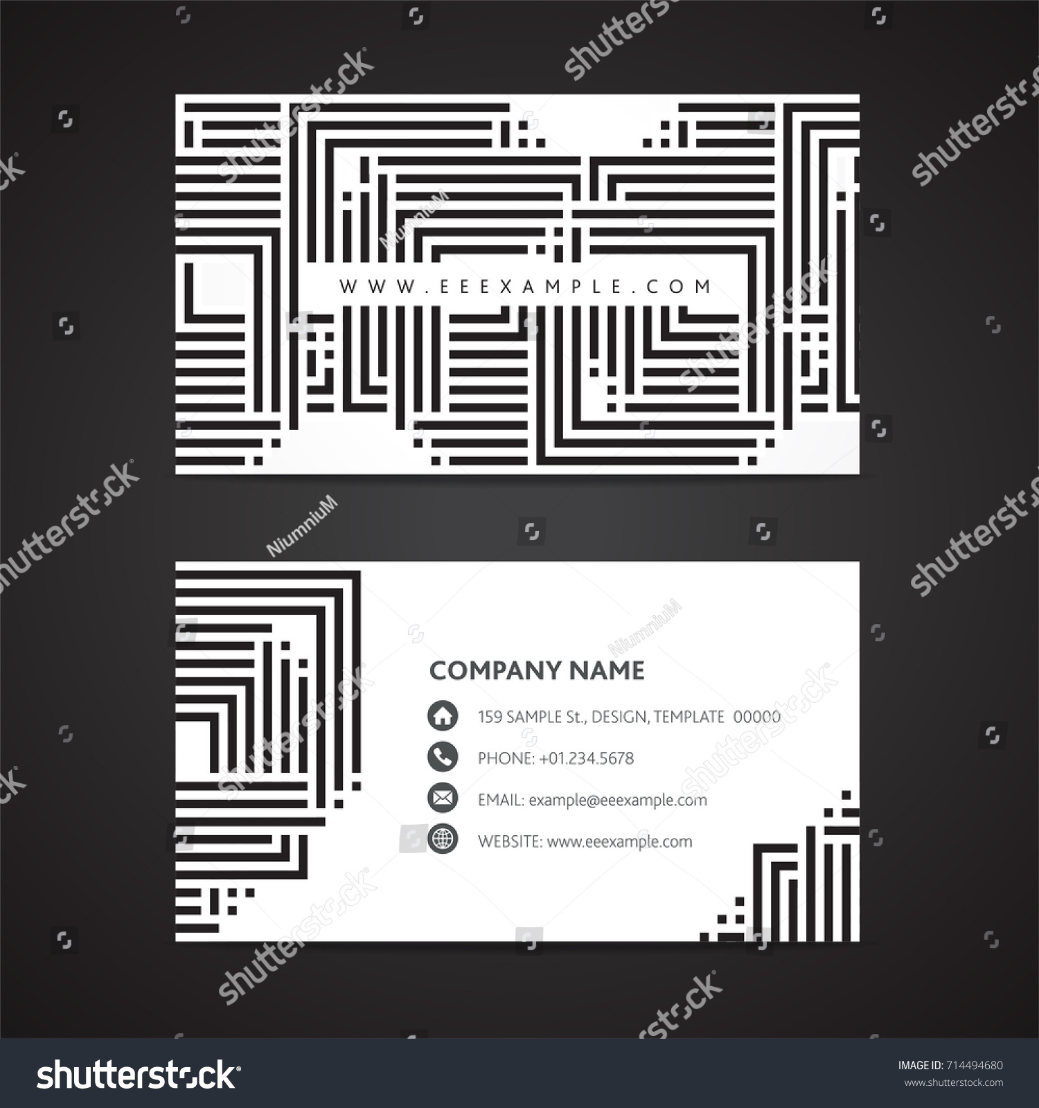 Black White Business Card Template 2 Stock Vector 714494680 ...