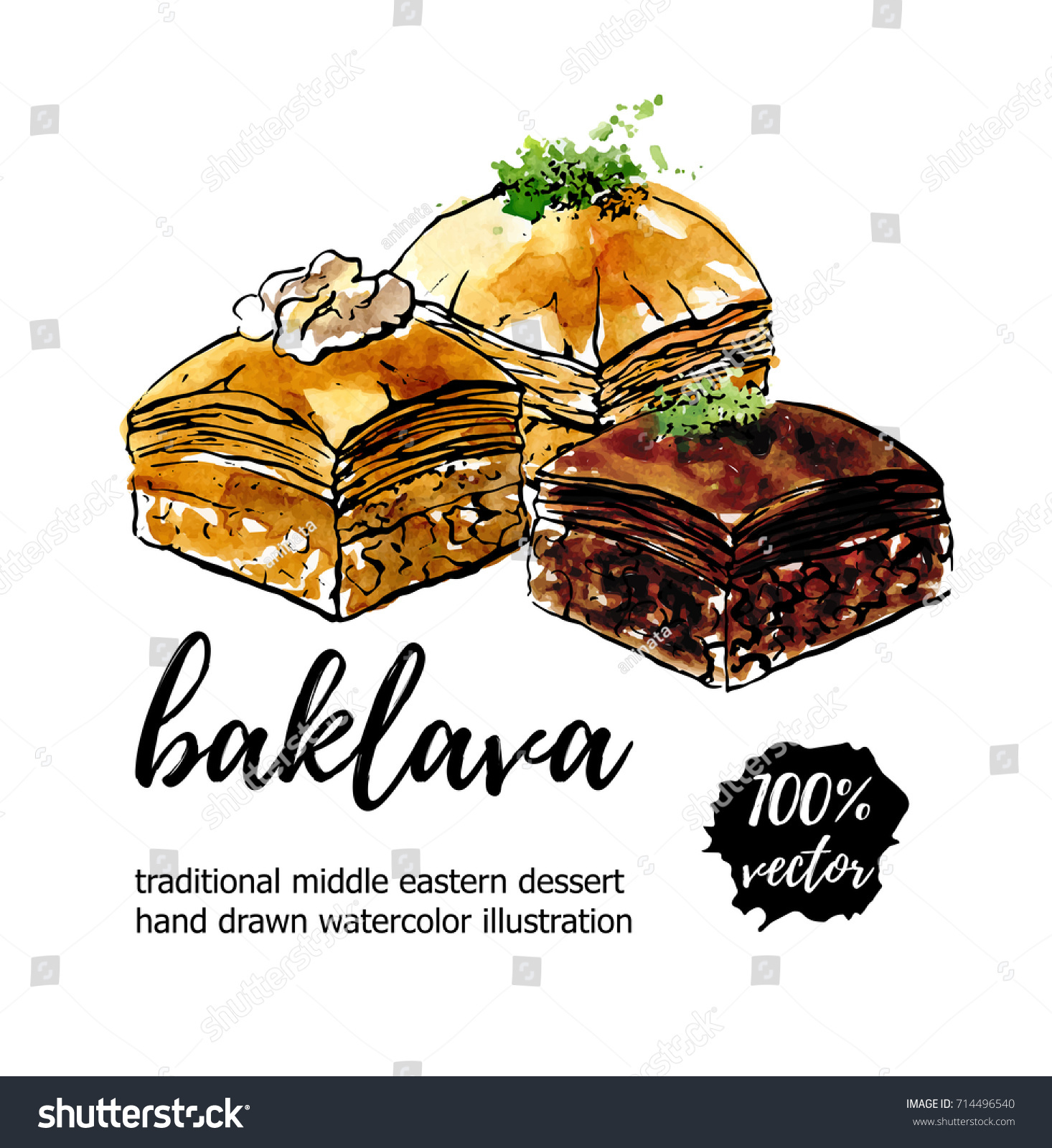Vector illustration baklava hand drawn middle stock vector vector illustration baklava hand drawn middle eastern dessert with walnut pistachio and chocolate biocorpaavc