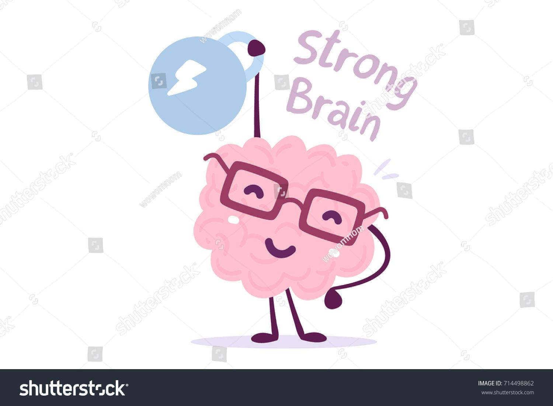 Character Design Course Singapore : Very strong cartoon brain concept doodle stock vector