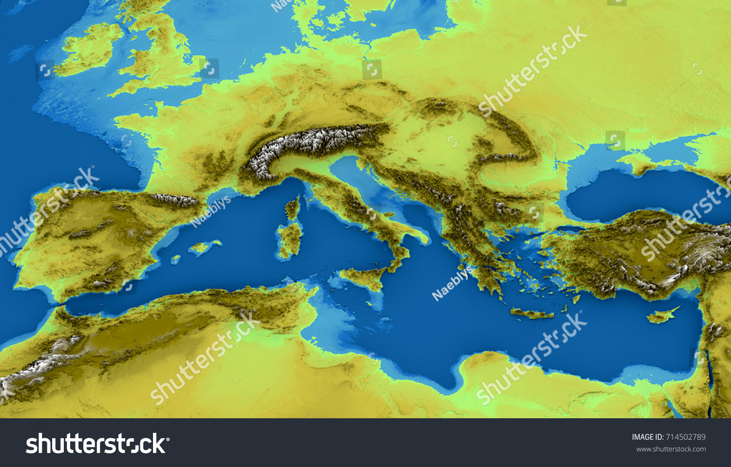 Map Mediterranean Sea Europe Map Heights Stock Illustration