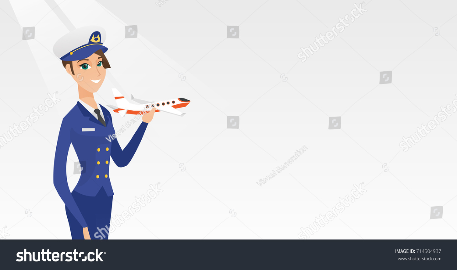 young caucasian airline pilot holding model stock vector 714504937
