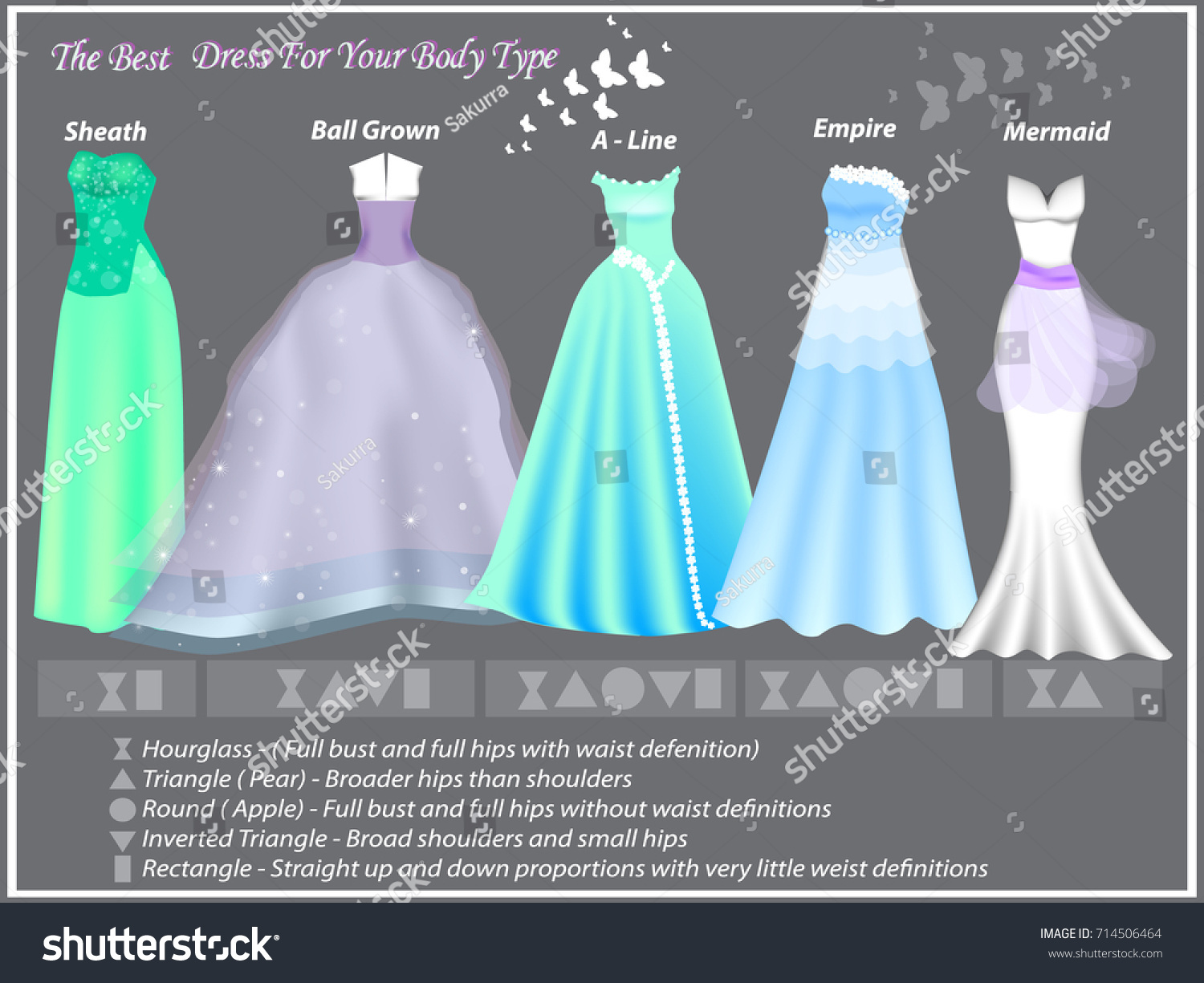 Dress Styles Different Body Type Dresses Stock Vector 714506464