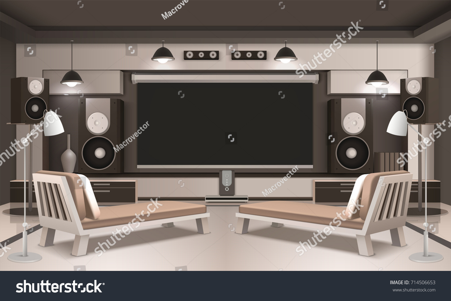Modern Home Cinema Interior 3d Design Stock Vector 714506653 ...