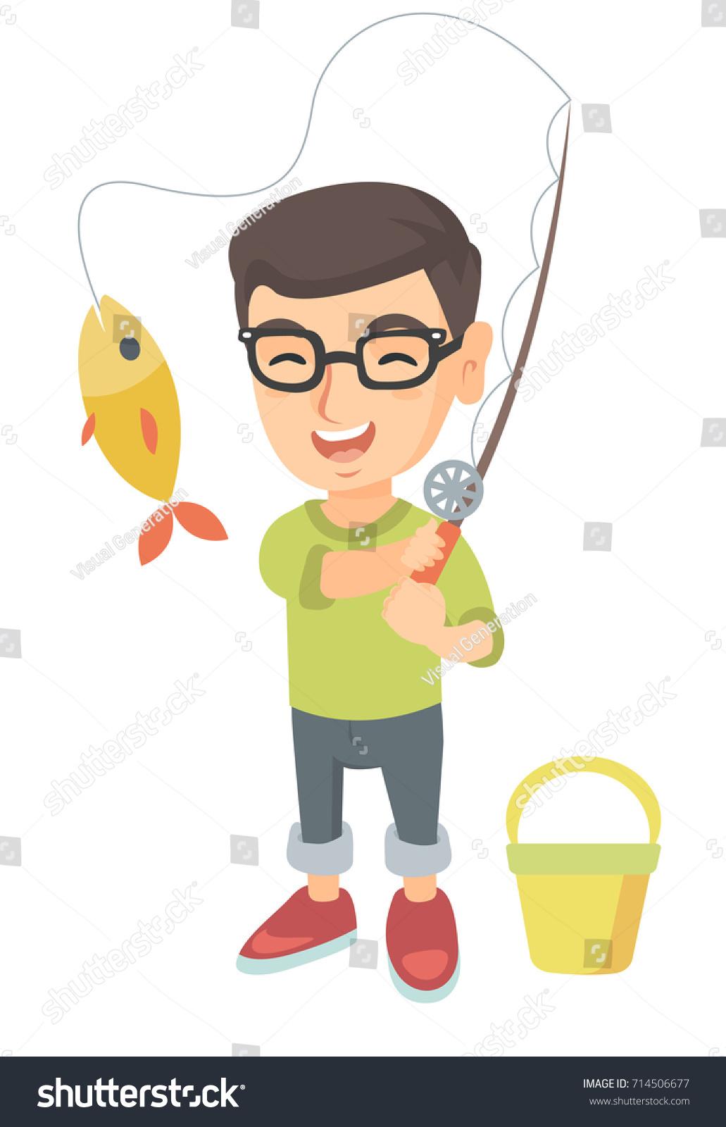 cheerful caucasian little boy fishing smiling stock vector