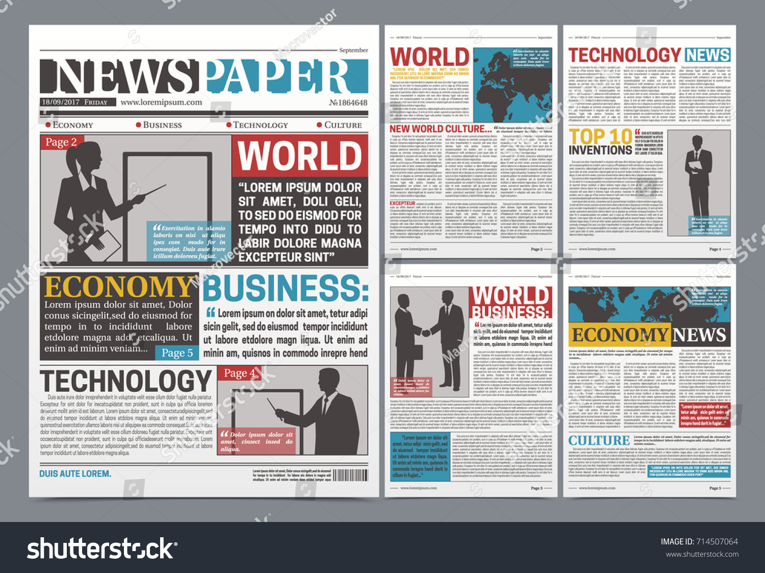 newspaper online template design with world business economy and technology news headlines with silhouettes realistic vector
