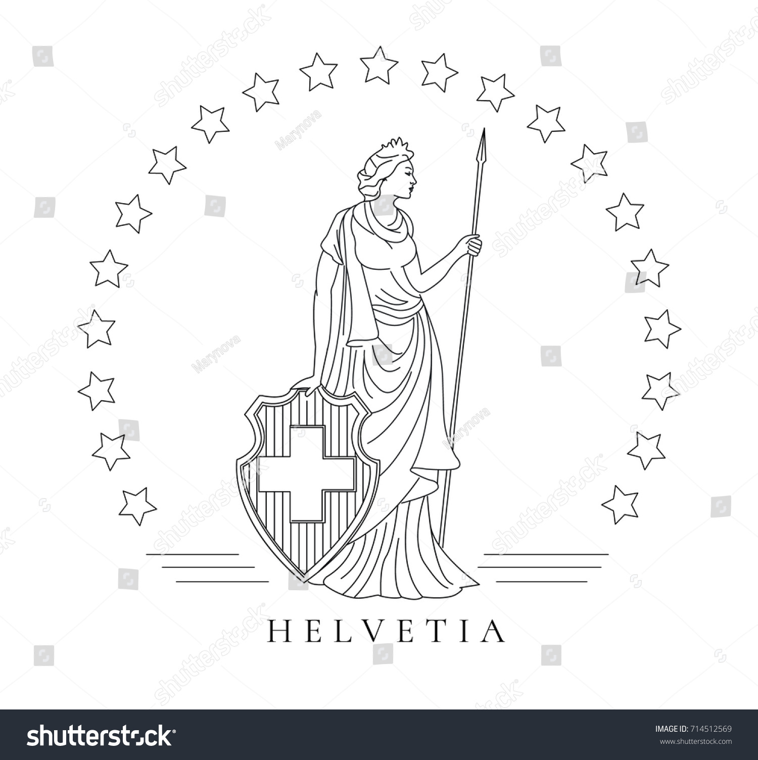 Personified Symbol Switzerland Woman Shield Spaer Stock Vector