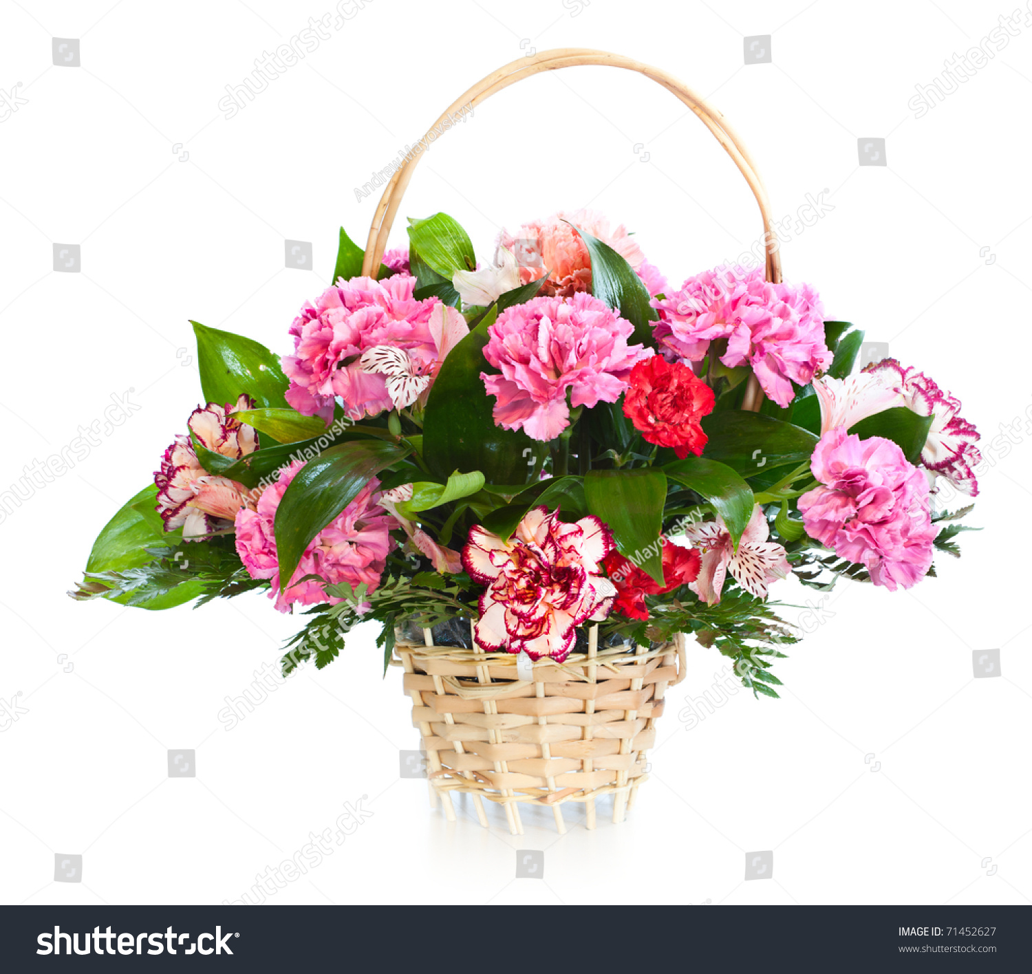 Bright Flower Bouquet Basket Isolated Over Stock Photo (100% Legal ...