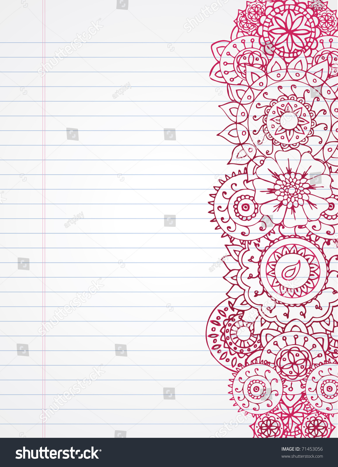 royalty-free henna border on lined paper. #71453056 stock photo