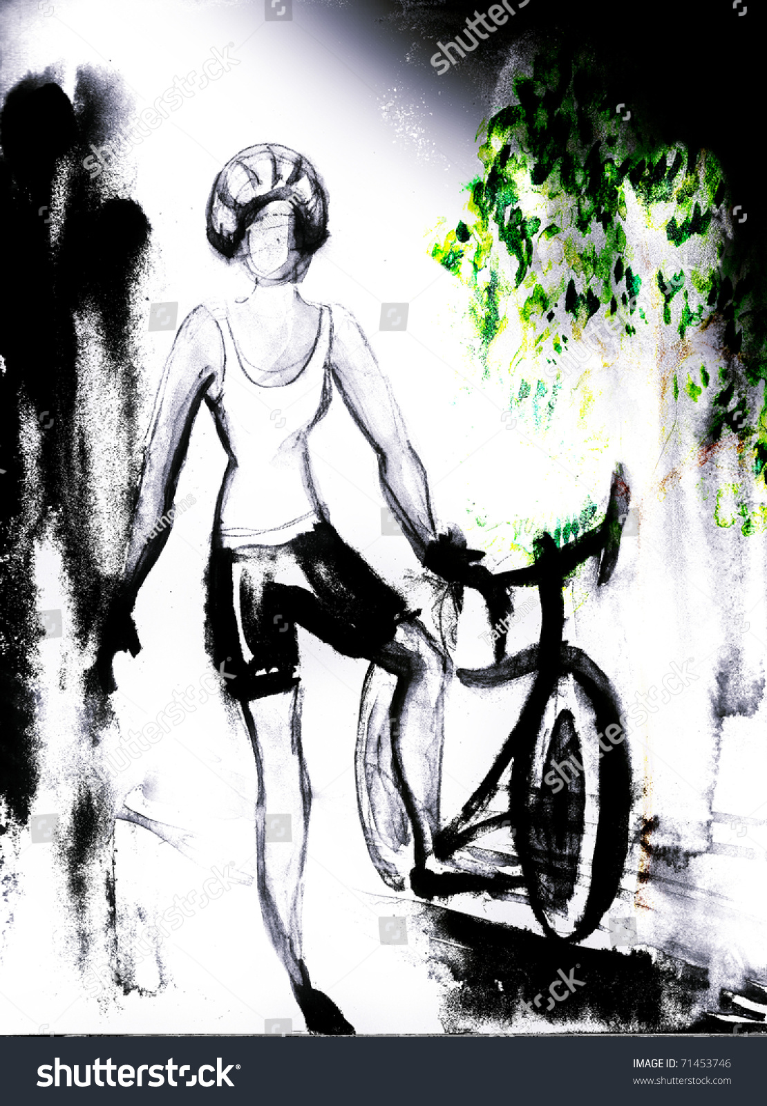 Girl with bicycle. Sport theme. Black and white with green leaves. My own drawing.