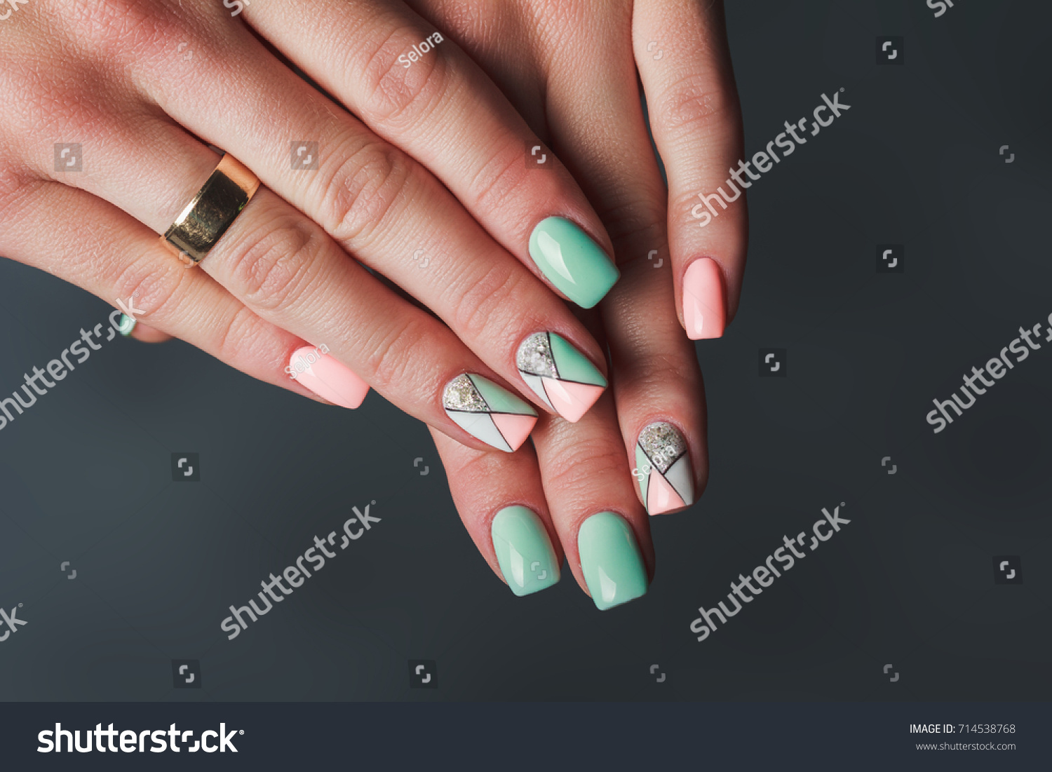 Geometry Nail Art Design Pink Green Stock Photo (Edit Now) 714538768 ...
