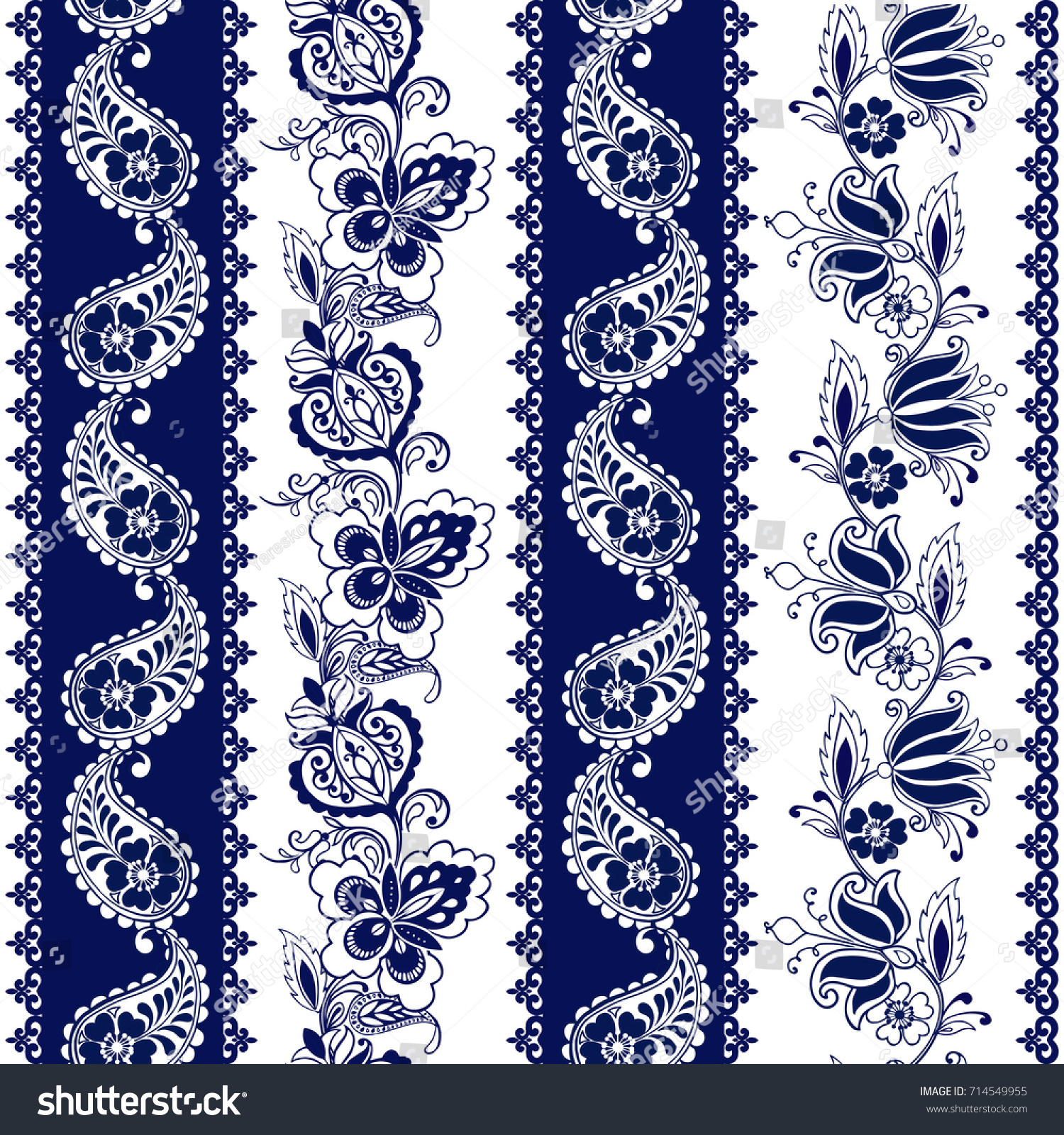 Set Lace Bohemian Seamless Borders Stripes Stock Vector Royalty