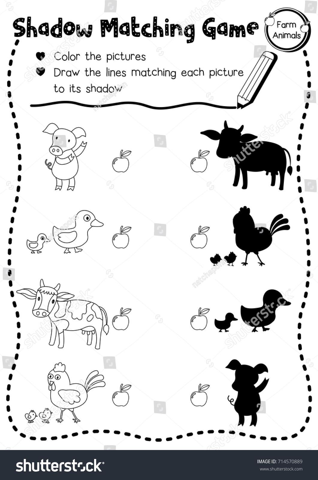 Shadow Matching Game Farm Animals Preschool Stock Vector Royalty