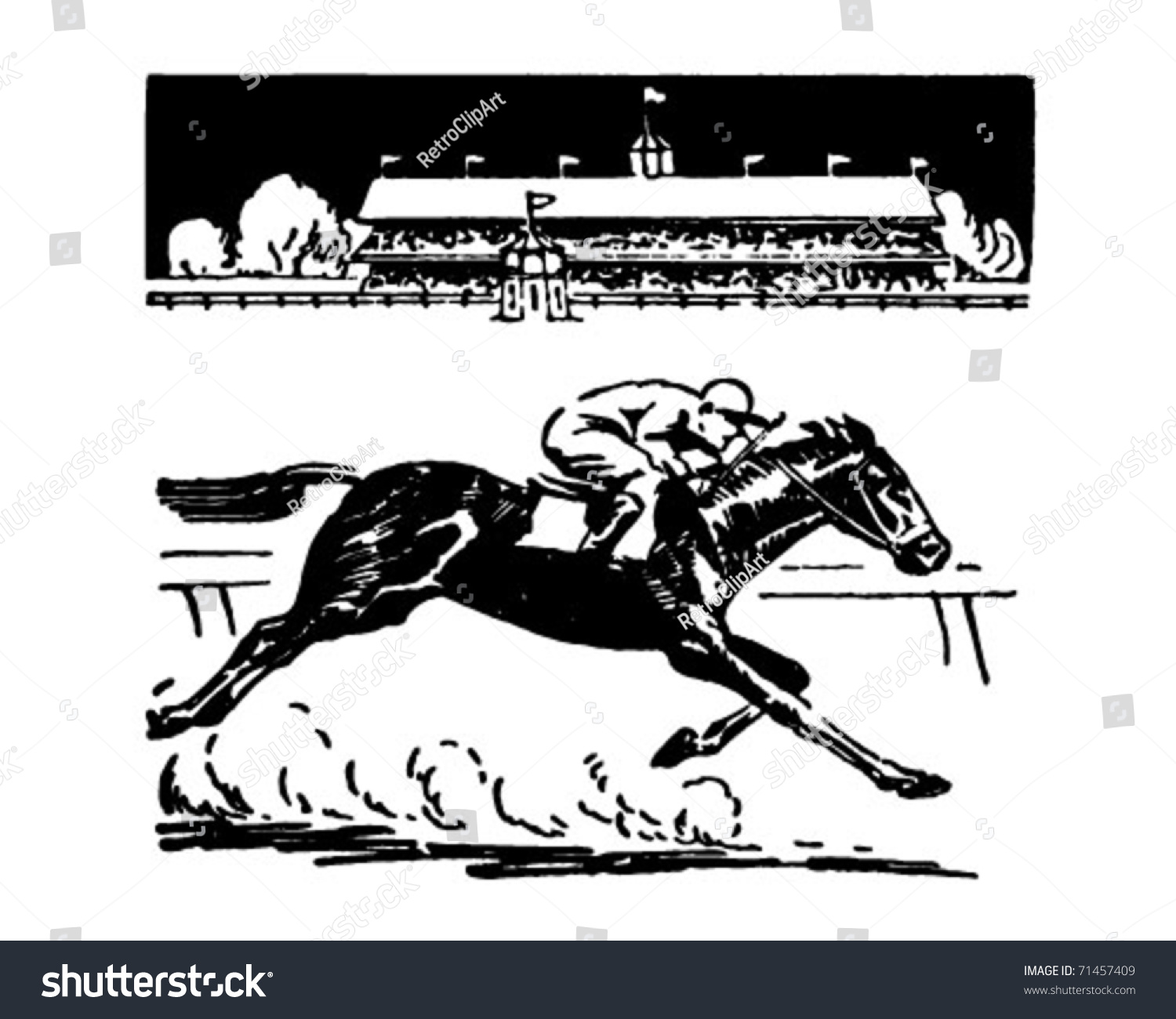 Horse Racing Retro Ad Art Illustration Stock Vector Royalty Free 71457409