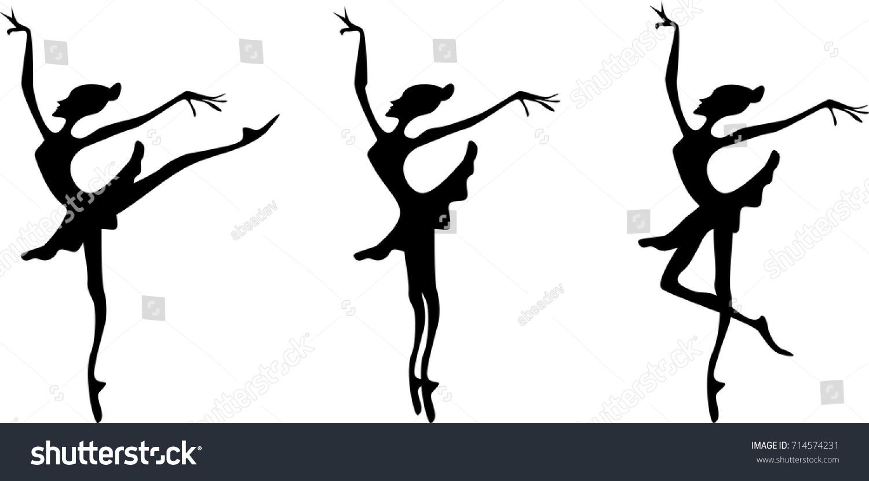 Silhouettes Ballerina Various Ballet Poses Stock Vector Royalty Free 714574231