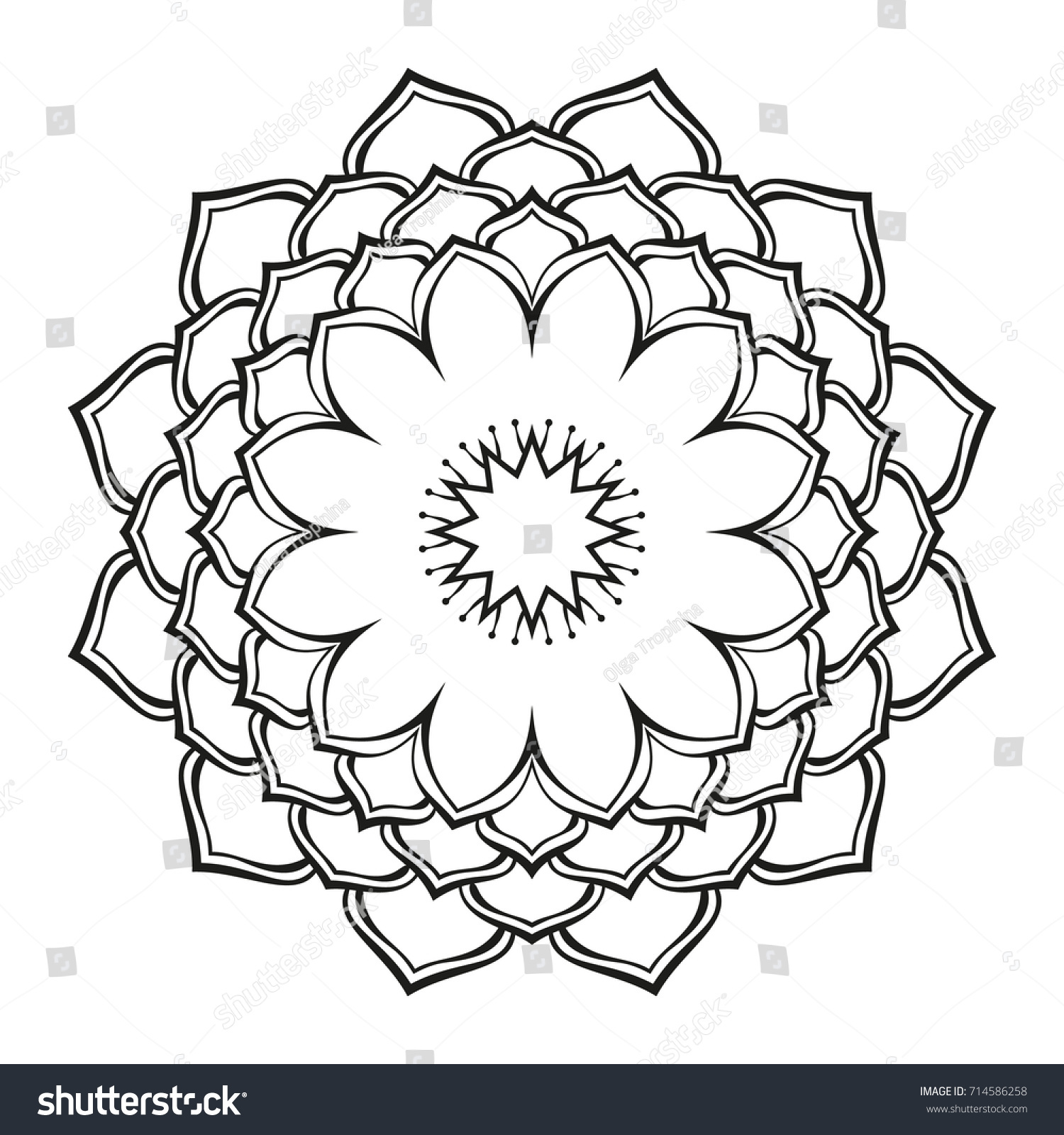 Round Ornamental Mandala Lotus Flower Isolated Stock Vector Royalty