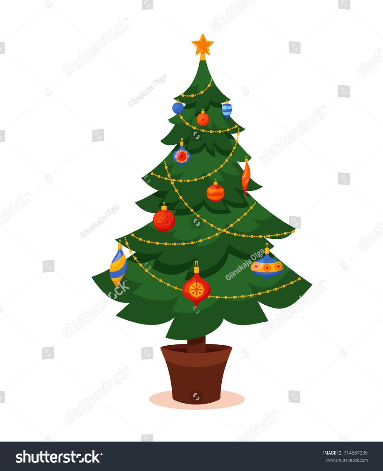 christmas tree decorated vector illustration star decoration balls and light bulb chain gift - Christmas Chain Decorations