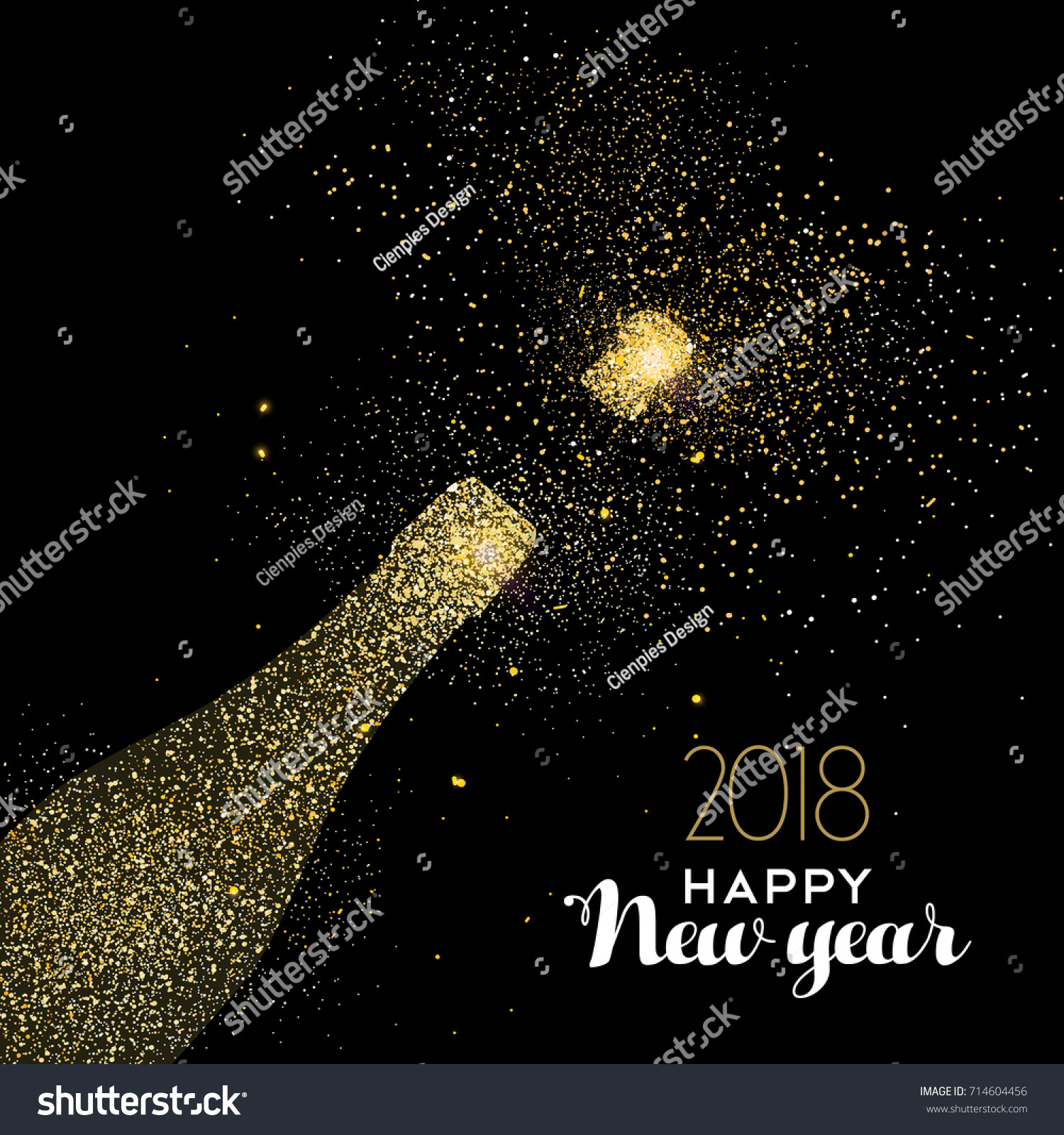 happy new year 2018 gold champagne bottle celebration made of realistic golden glitter dust ideal