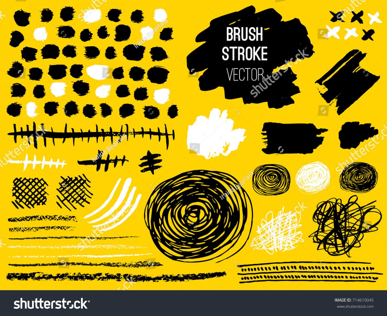 set stroke brush pen marker chalk stock vector royalty free