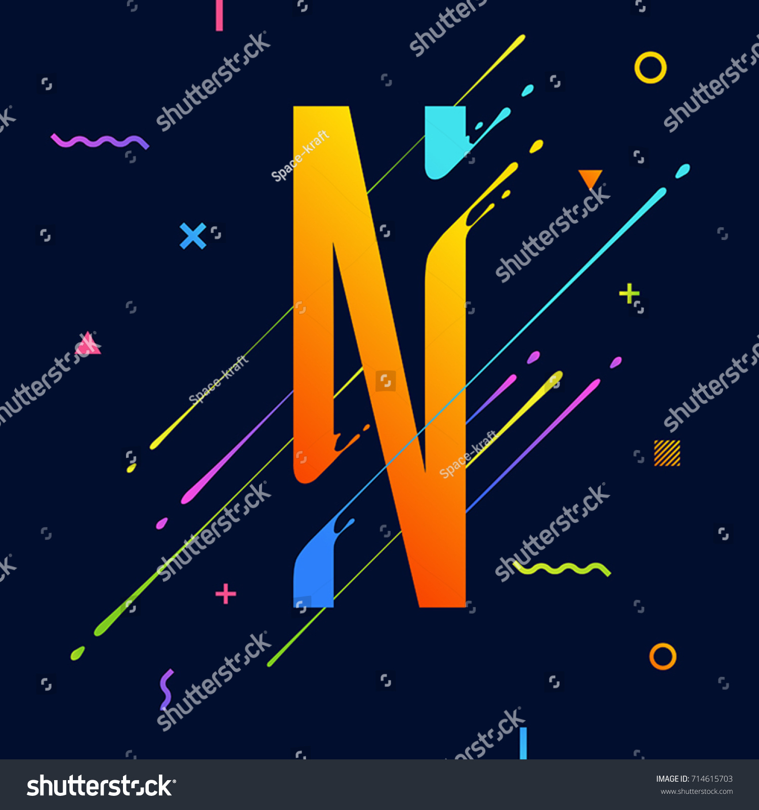 modern abstract colorful alphabet with minimal design letter n abstract background with cool bright