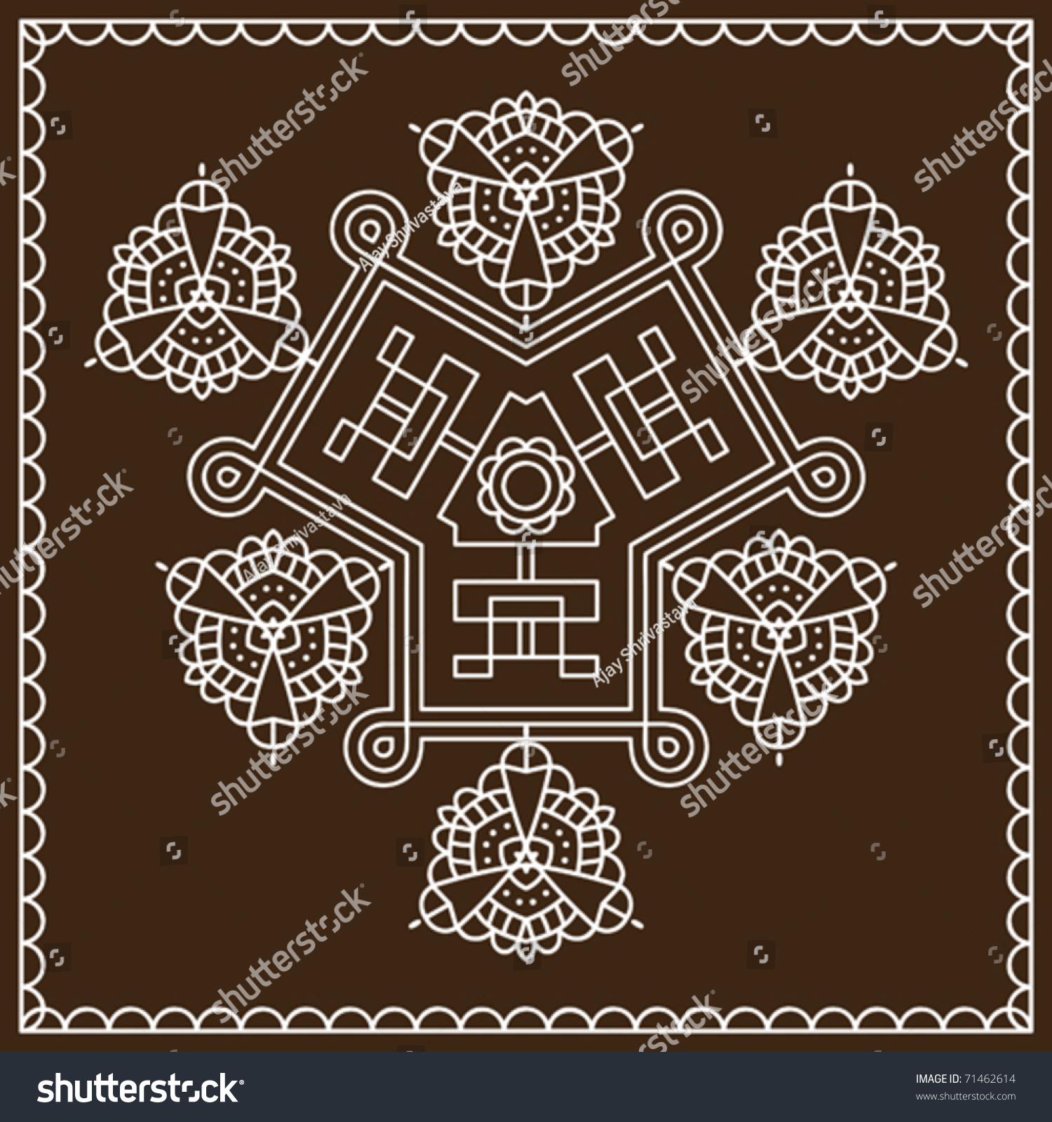 folk tribal designs motif wall painting stock vector illustration 71462614 shutterstock. Black Bedroom Furniture Sets. Home Design Ideas