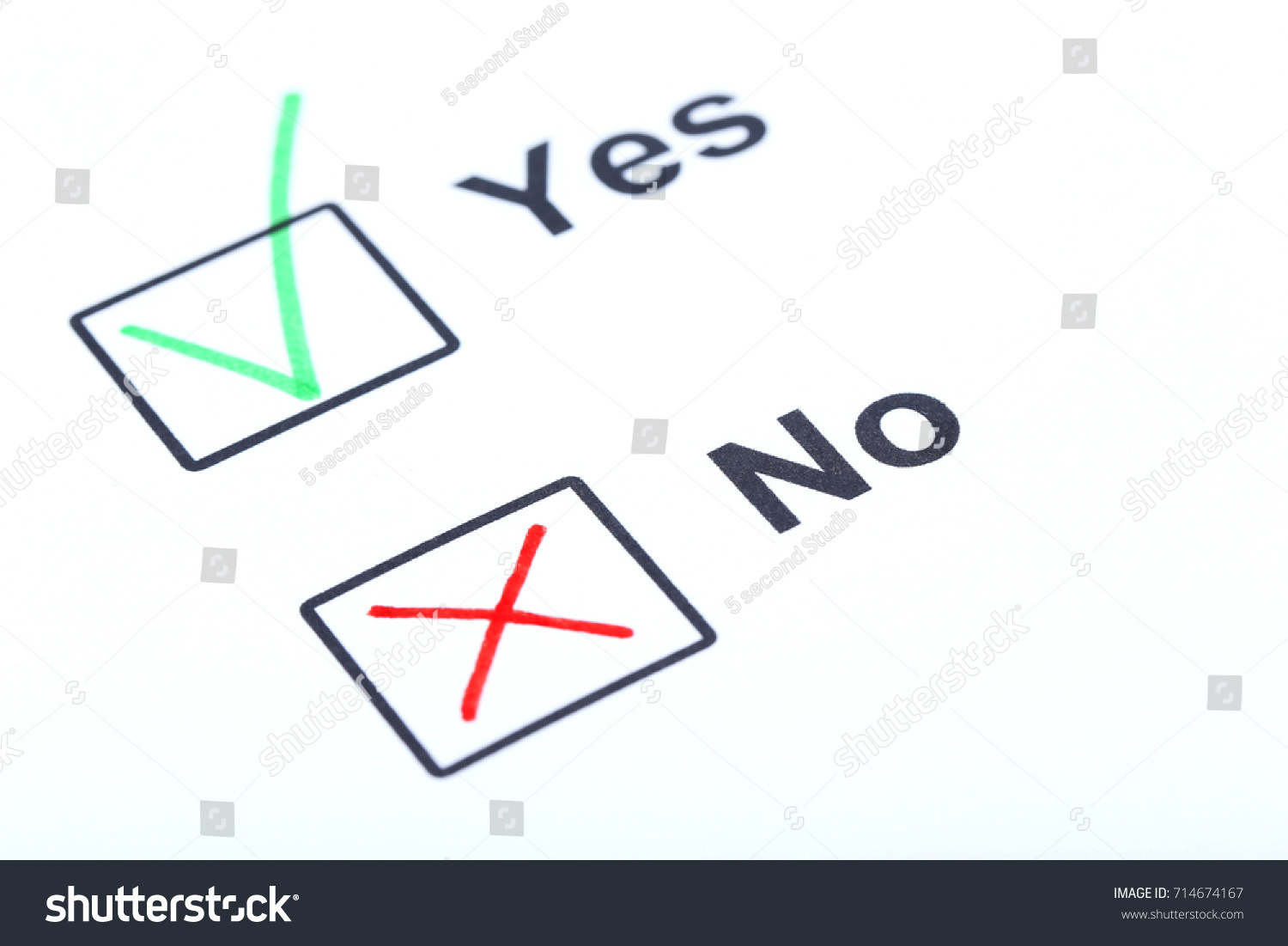 Check boxes yes no on white stock photo 714674167 shutterstock check boxes yes and no on white paper biocorpaavc Gallery