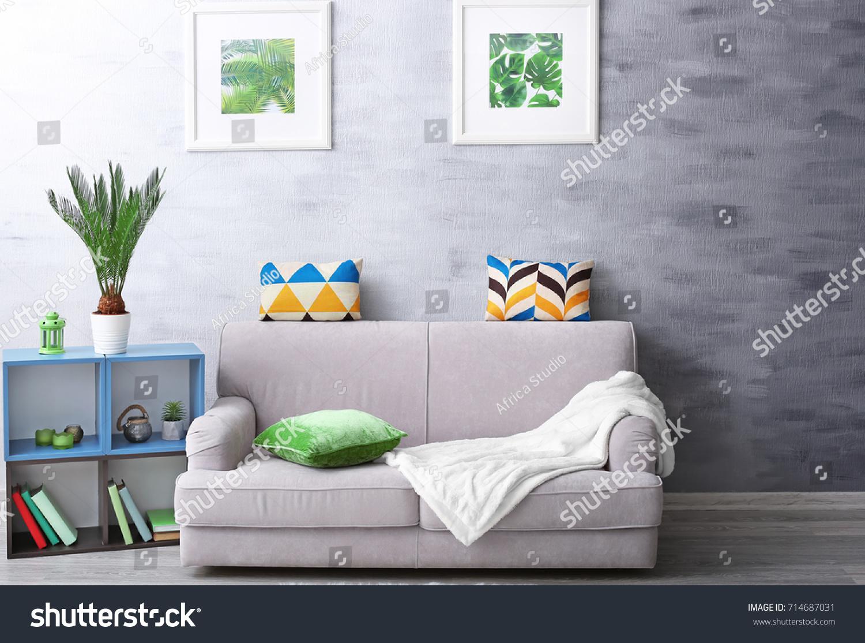 Modern Living Room Design Framed Pictures Stock Photo (Royalty Free ...