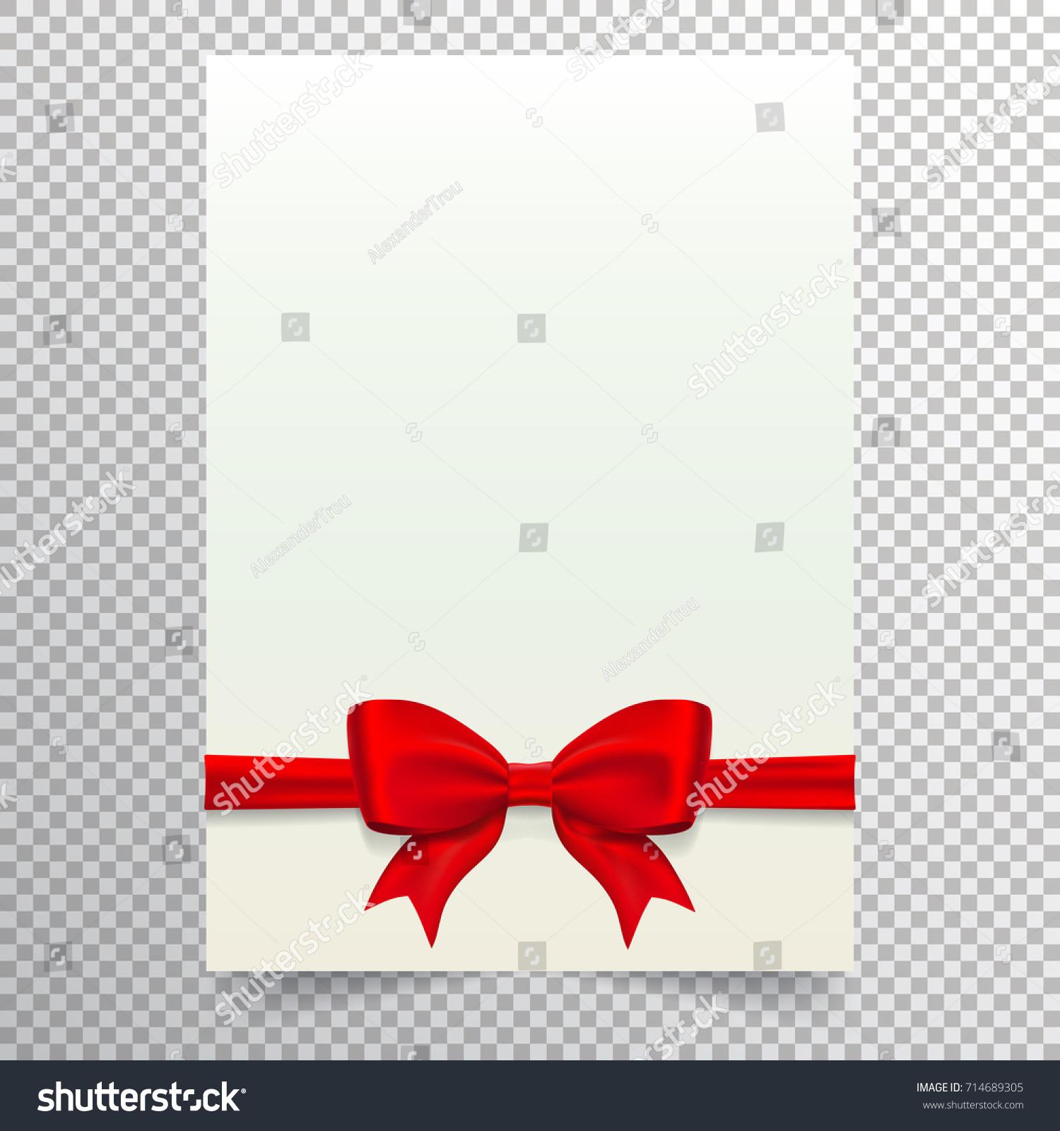 Blank Paper Sheet Red Ribbon Bow Stock Vector (Royalty Free ...