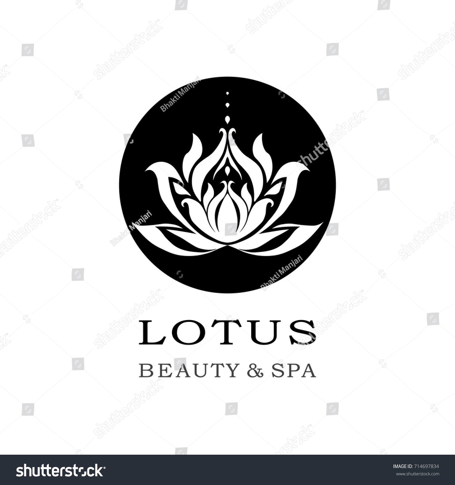 Black White Lotus Flower Logo Vector Stock Vector 714697834