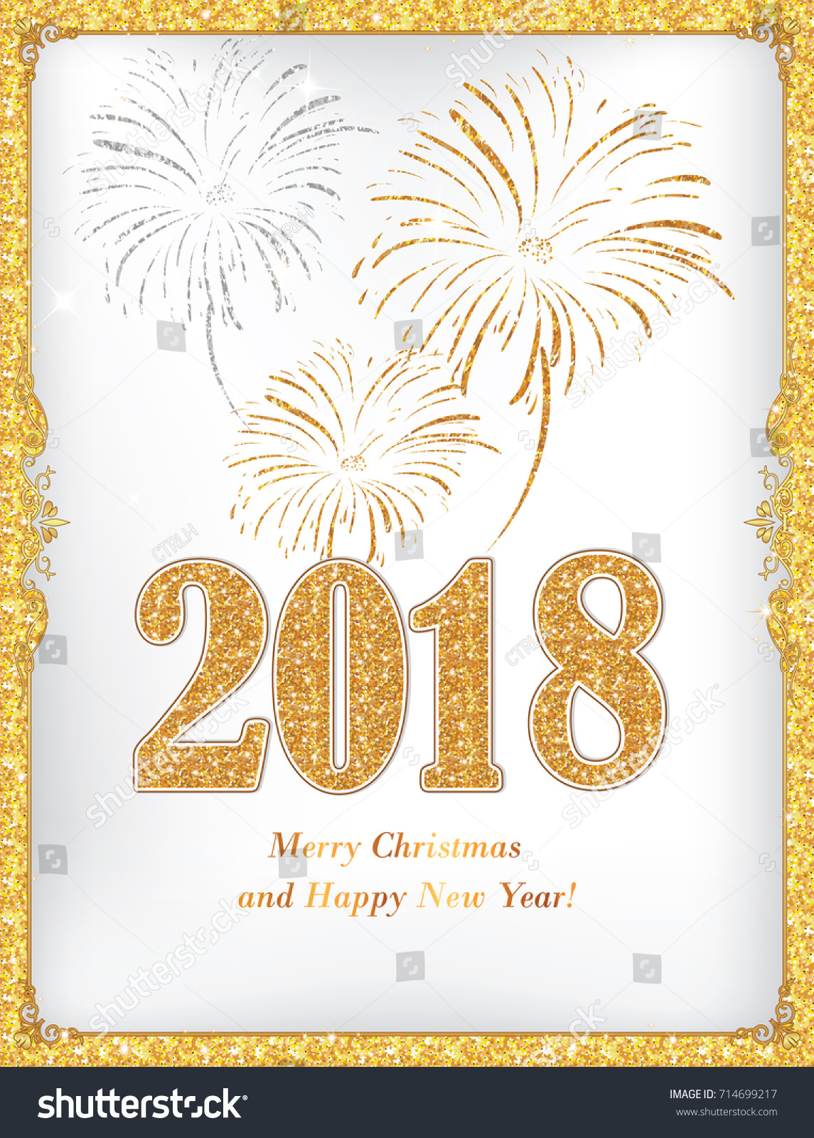merry christmas and happy new year 2018 golden white elegant greeting card also for