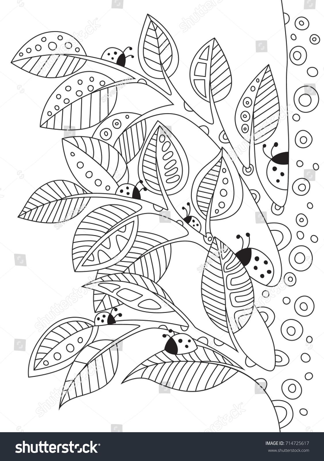 Anti stress colouring book asda - Outlined Doodle Anti Stress Coloring Book Page Ladybugs On A Tree Coloring Book Page
