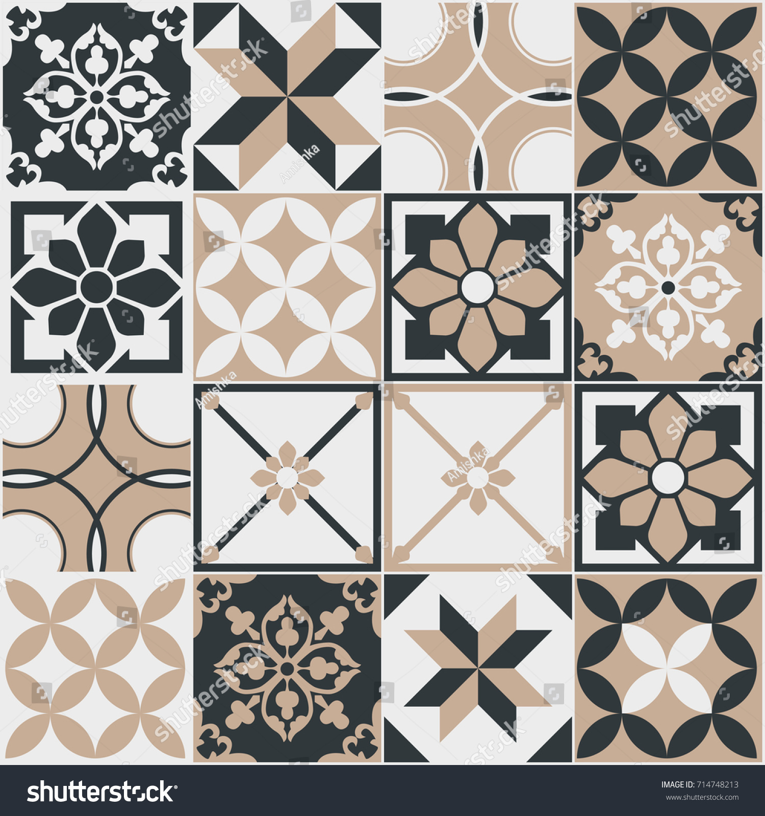 Seamless Pattern Tiles Vintage Decorative Design Stock Vector HD ...