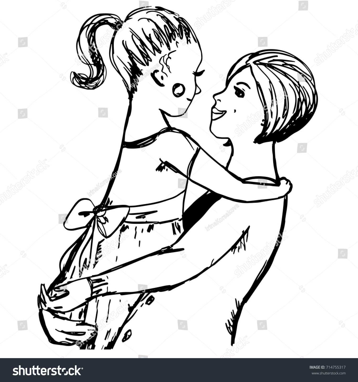 Hugs Mom Hand Drawn Sketch Woman Stock Vector (Royalty Free ...