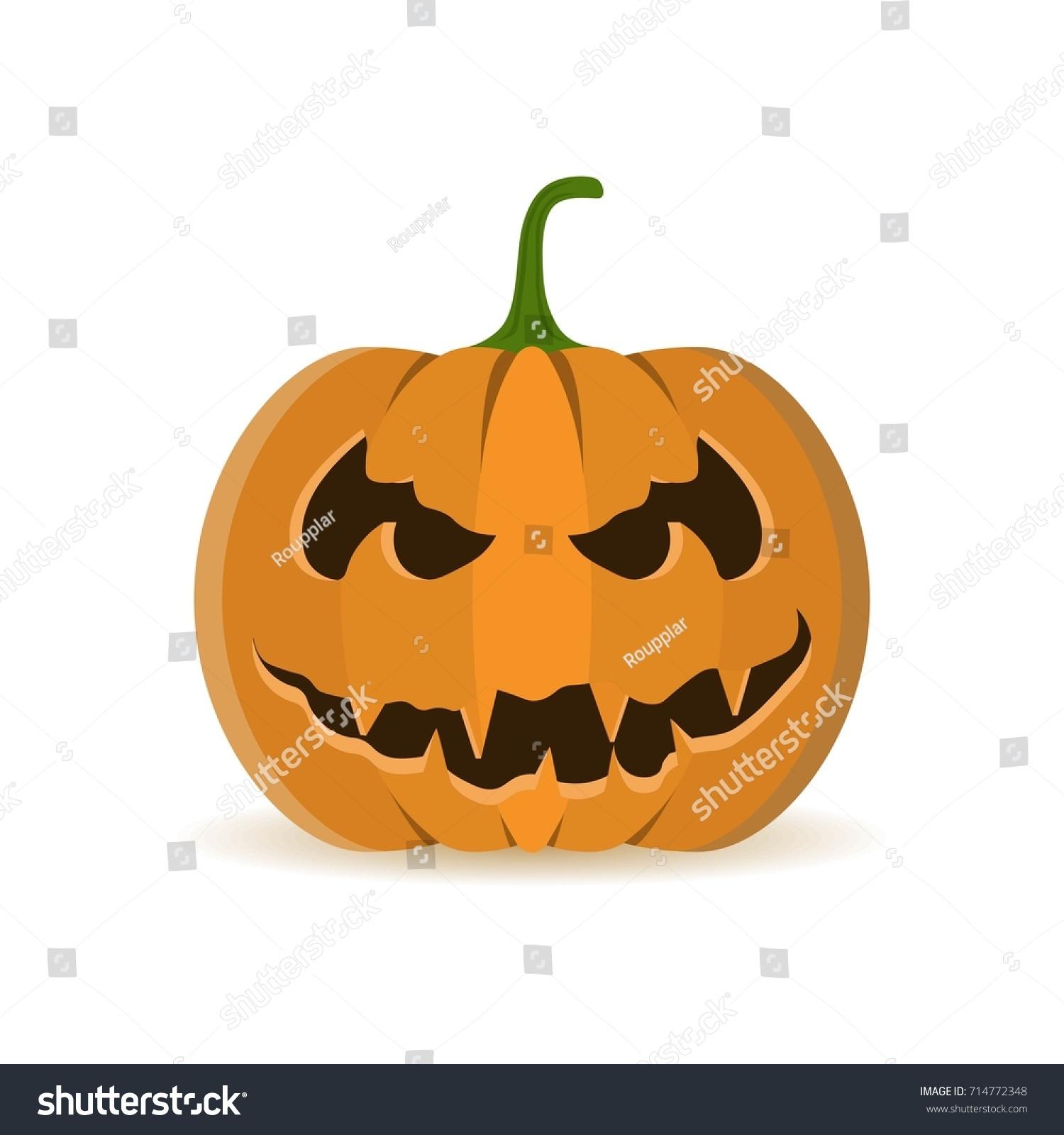 Halloween Pumpkin Icon Evil Scary Smiling Stock Vector (2018 ...