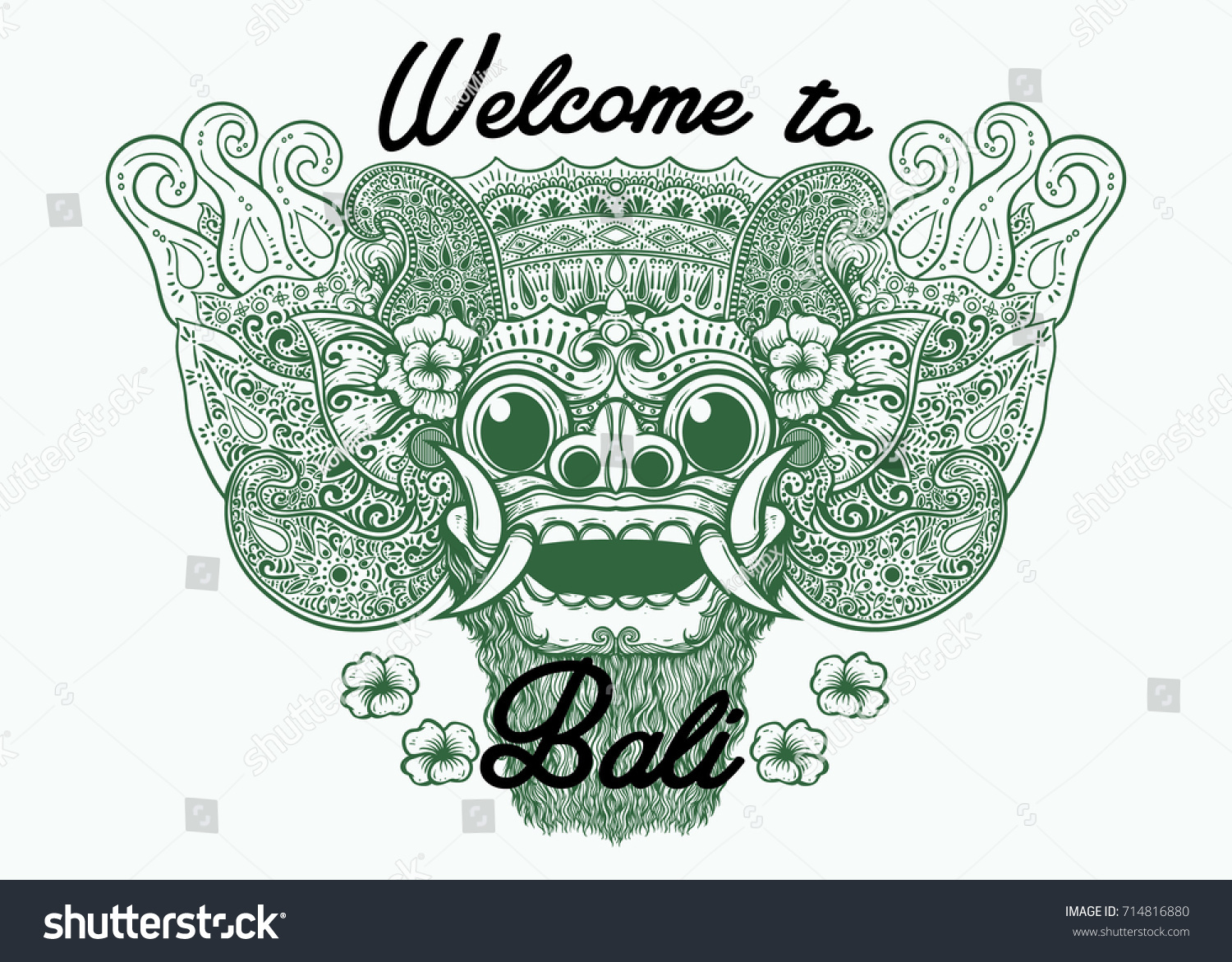 Welcome bali mask drawing background stock vector 714816880 welcome to bali mask drawing background altavistaventures Gallery