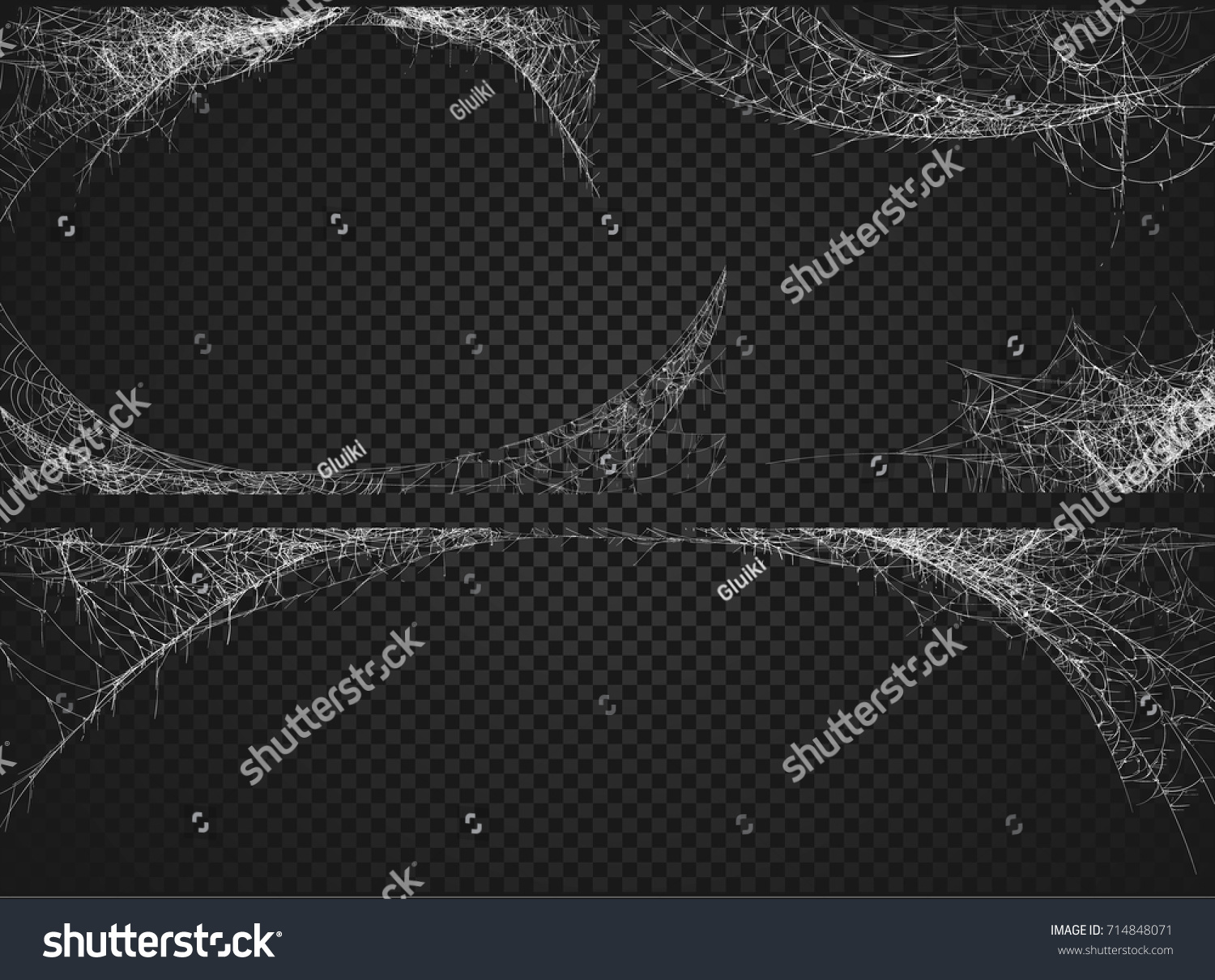 Collection of Cobweb, isolated on black, transparent background. Spiderweb for Halloween design.  #714848071