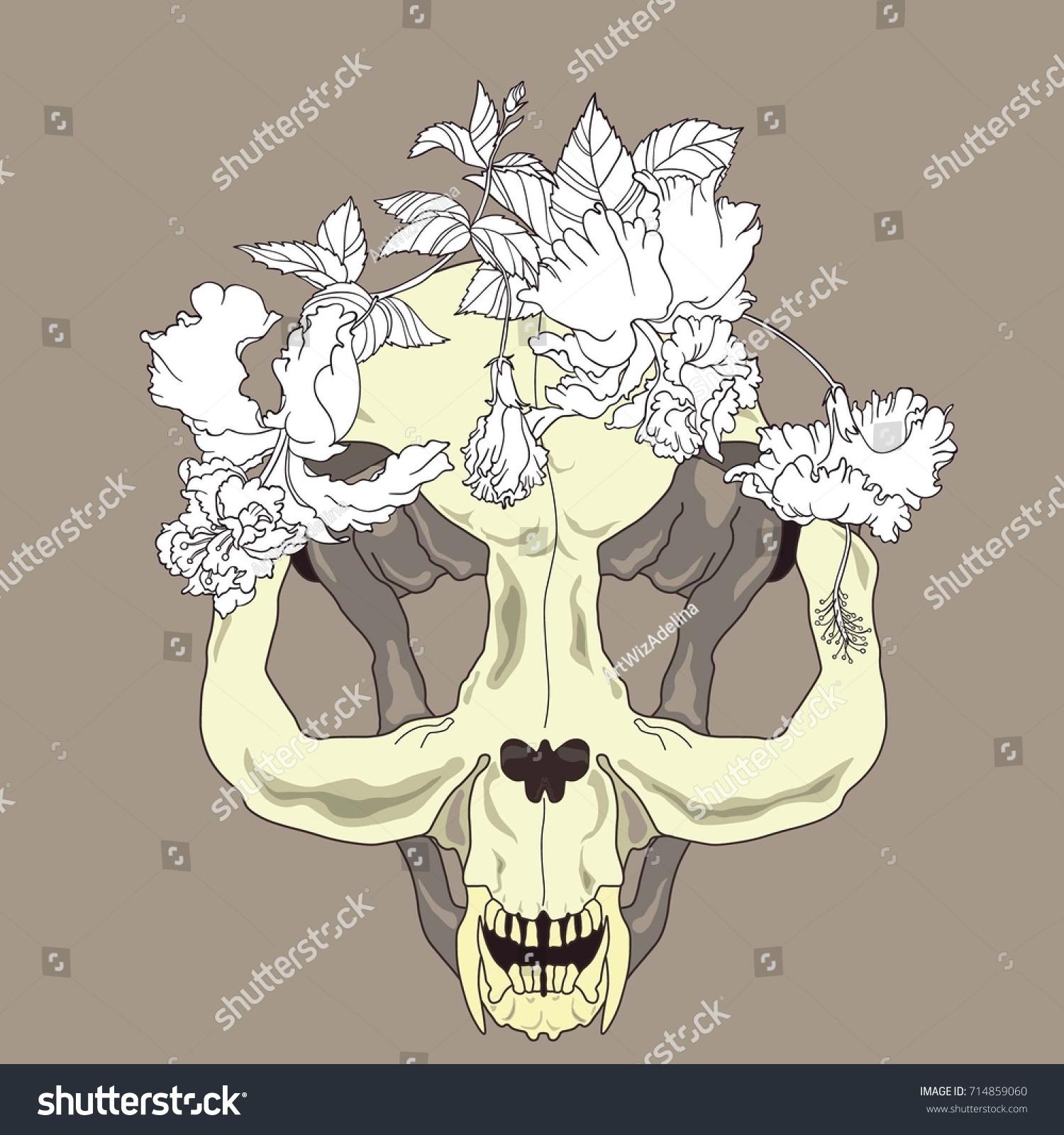 Happy Halloween Creepy Cat Skull Hibiscus Stock Photo (Photo, Vector ...
