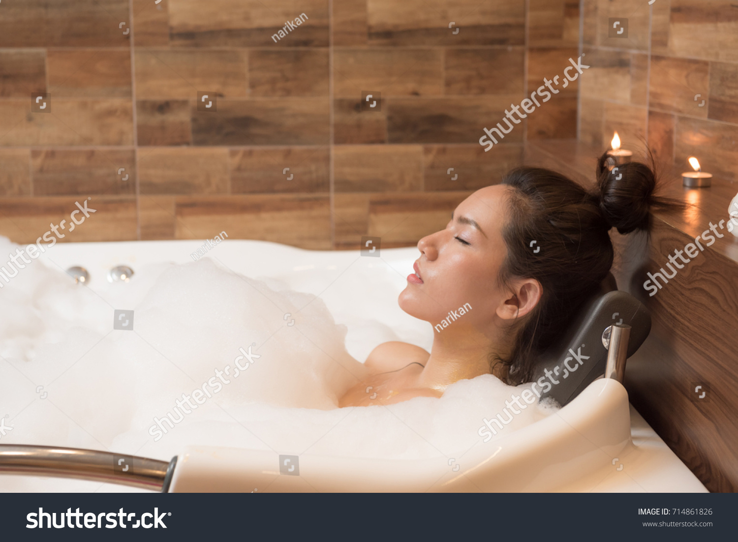 Bathing woman relaxing bath smiling relaxing stock photo 714861826 shutterstock - Relaxing japanese bathroom design for ultimate relaxation bath ...