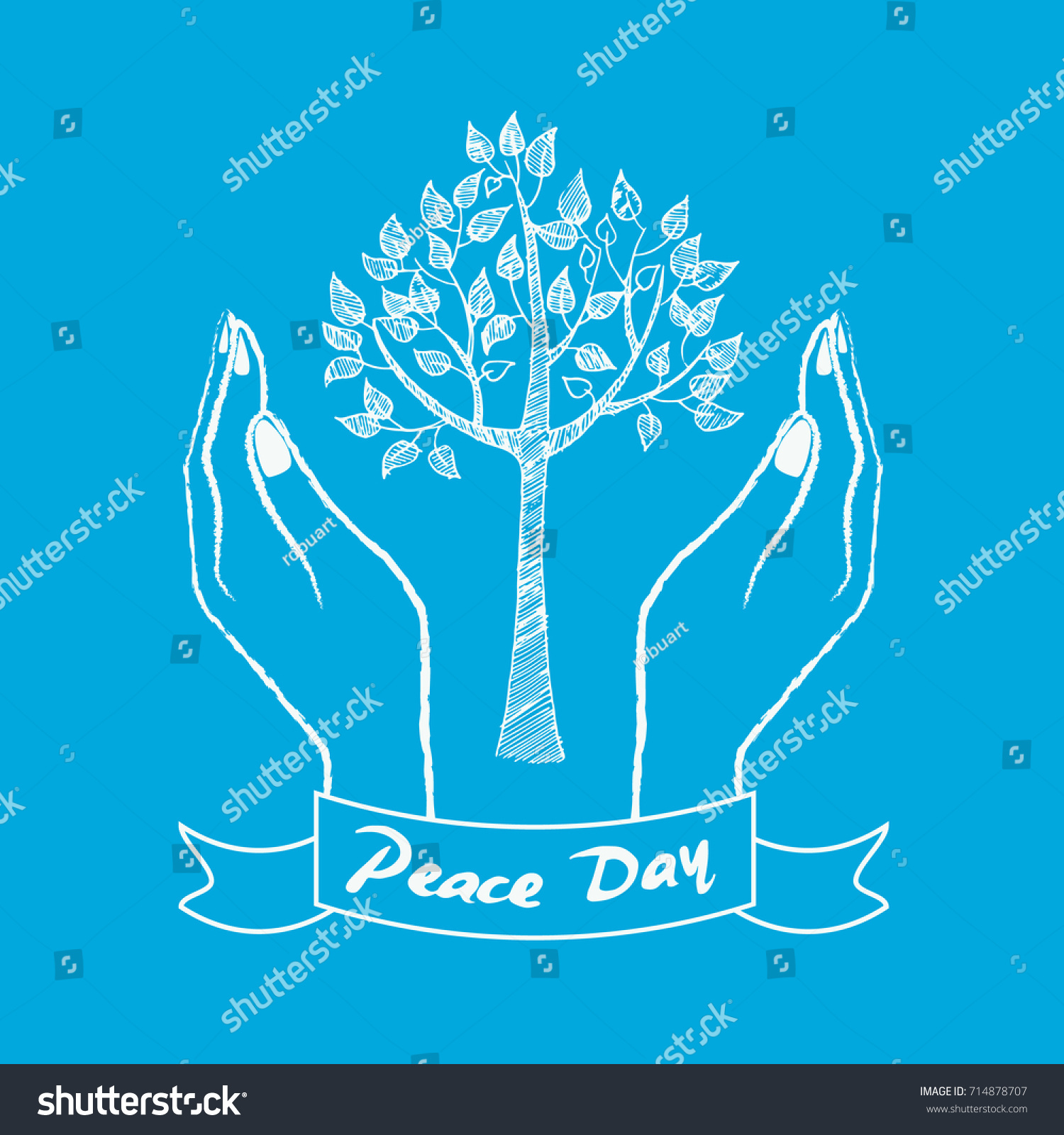 Peace Day Symbol Two Hands Taking Stock Vector 714878707 Shutterstock
