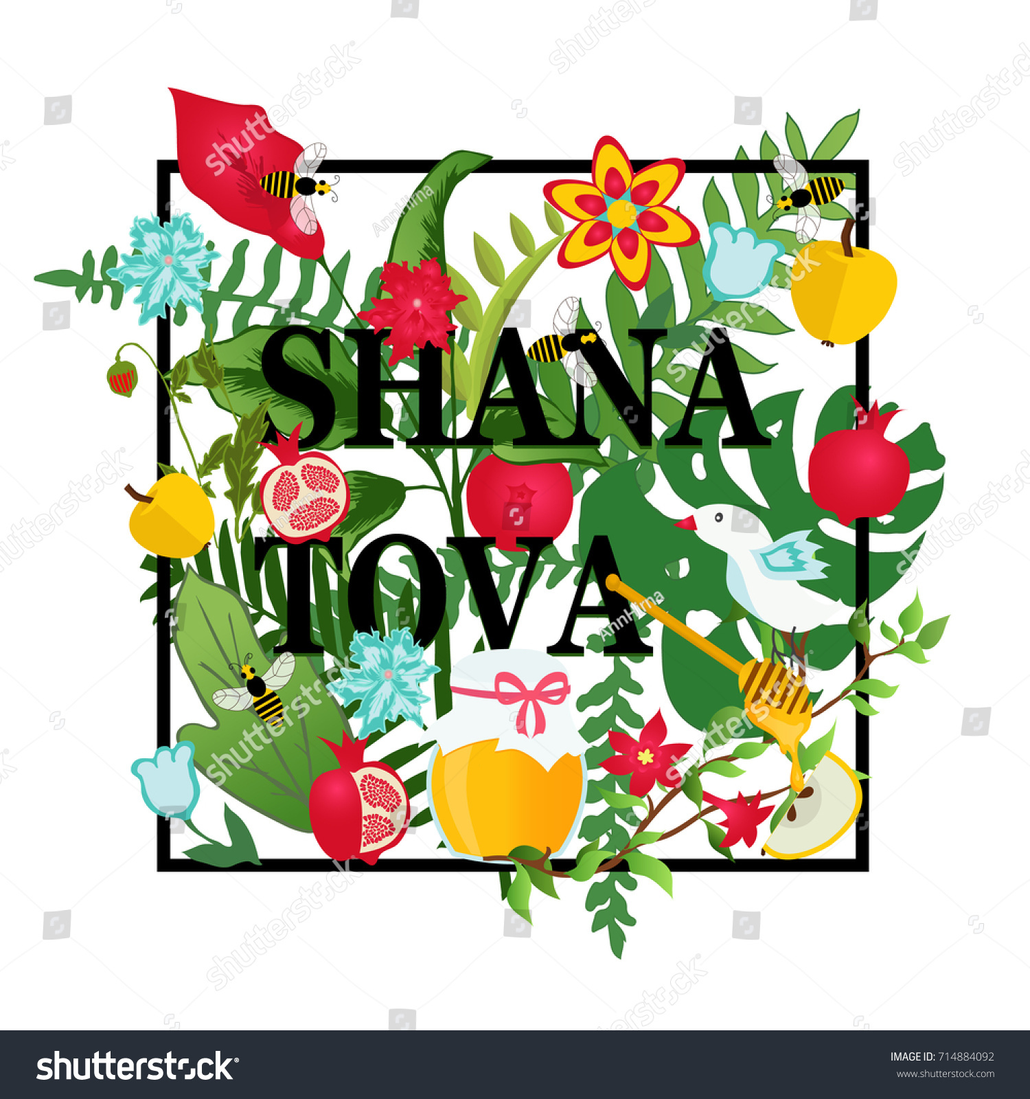 greeting card for jewish new year with flowers and traditional elements of holiday rosh hashanah