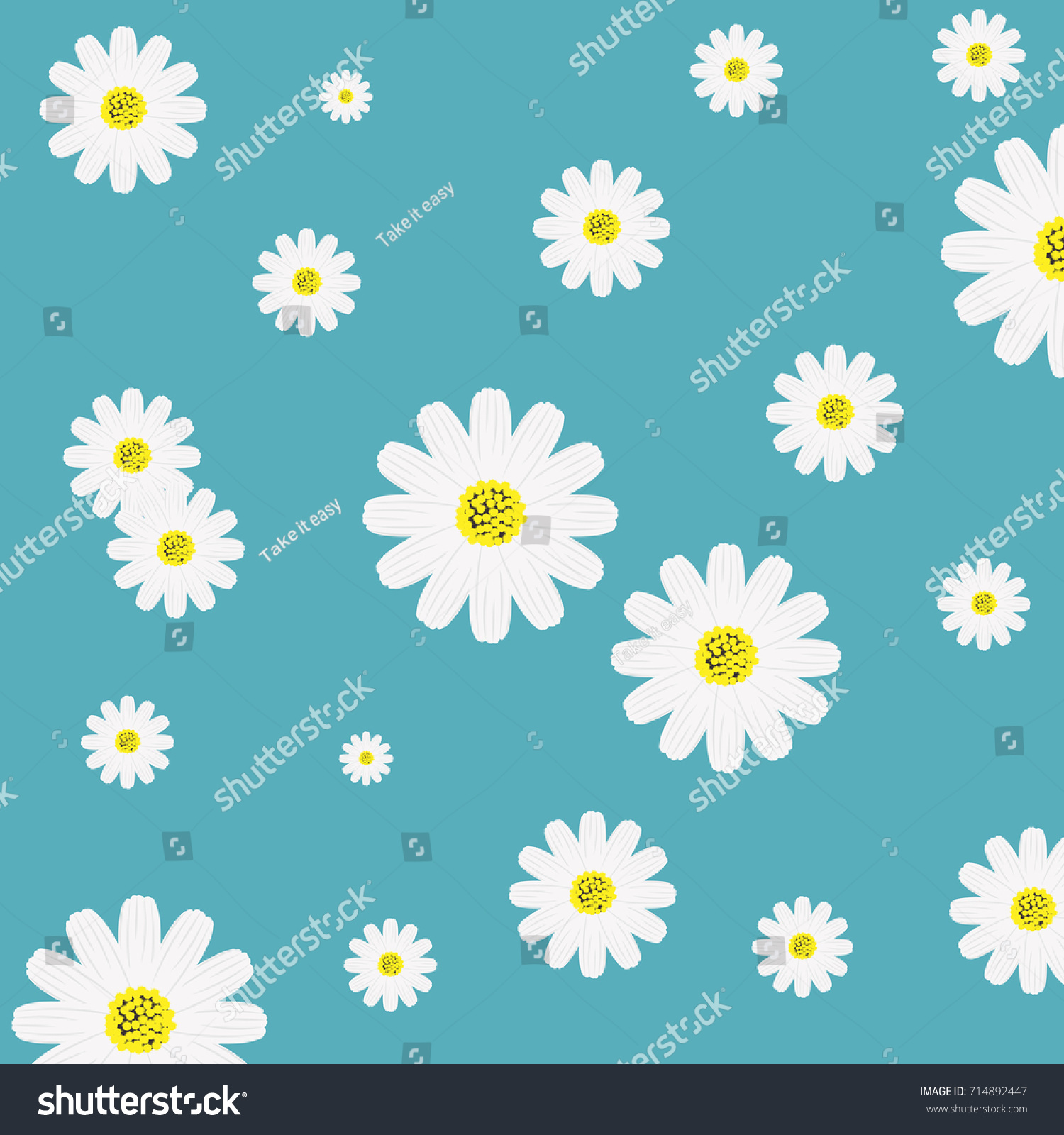 White Daisy Flower Background Vintage Design Stock Vector Royalty