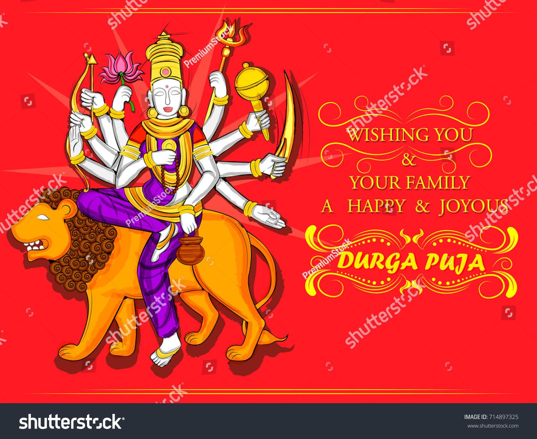 Vector Design Of Indian Goddess Durga Sculpture For Durga Puja