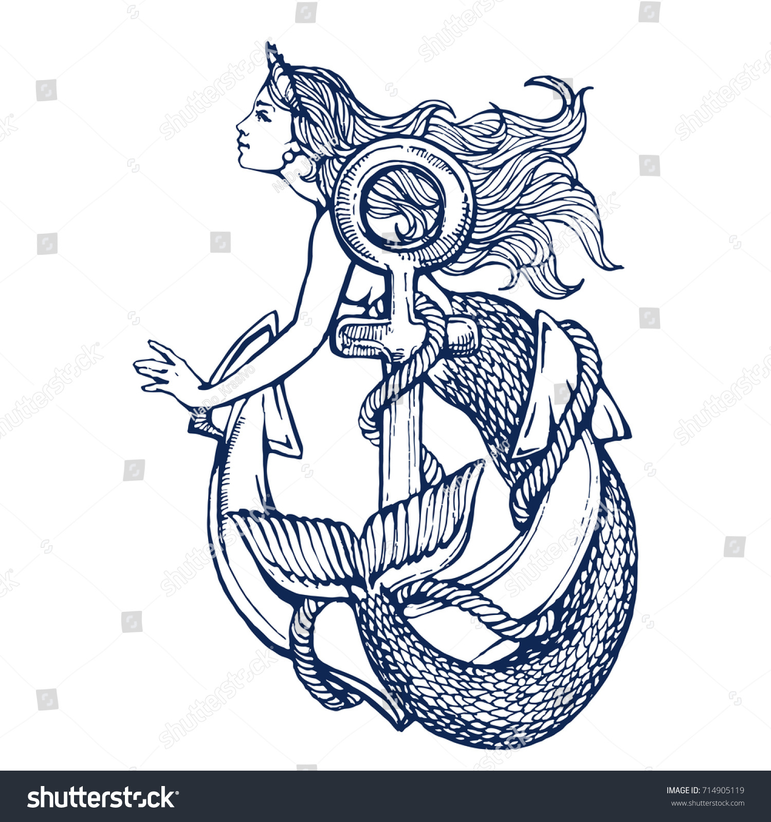 Mermaid With Anchor Tattoo Hand Drawn Ink Sketch Stock Vector Illustration Coloring Book Page