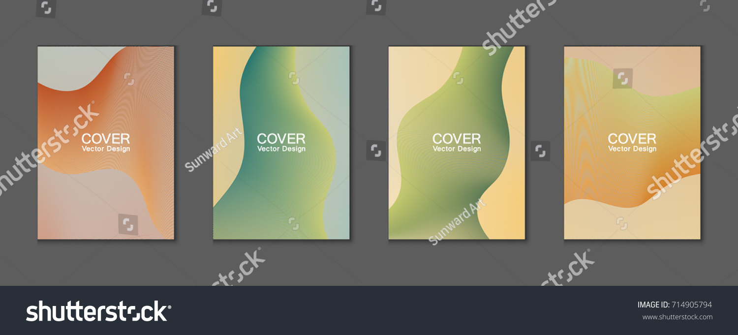 Design banner minimalist - Curved Stripes Cover Vector Wavy Lines Pattern Colorful Minimalist Background Vertical Banner