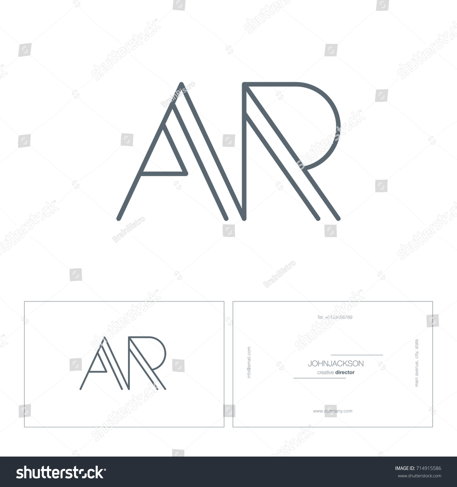 Letters R R pany Logo Business Stock Vector